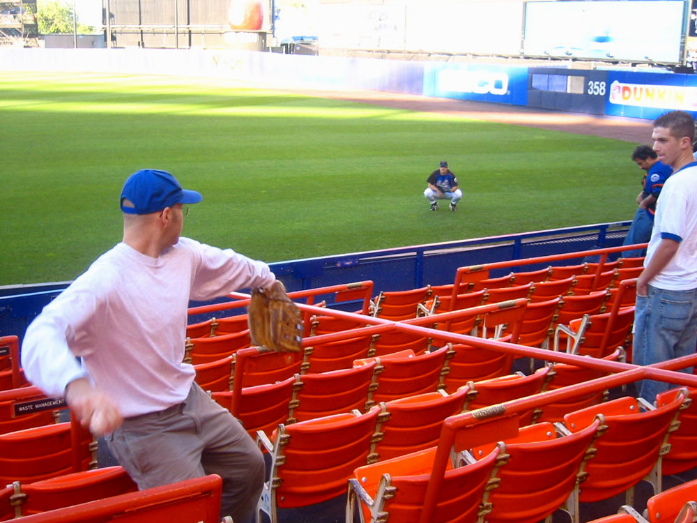 playing catch from the seats with Mets pitcher Heath Bell