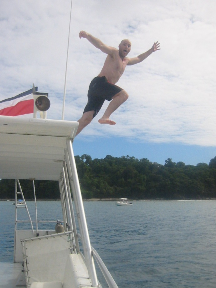 jumping off a boat in Costa Rica