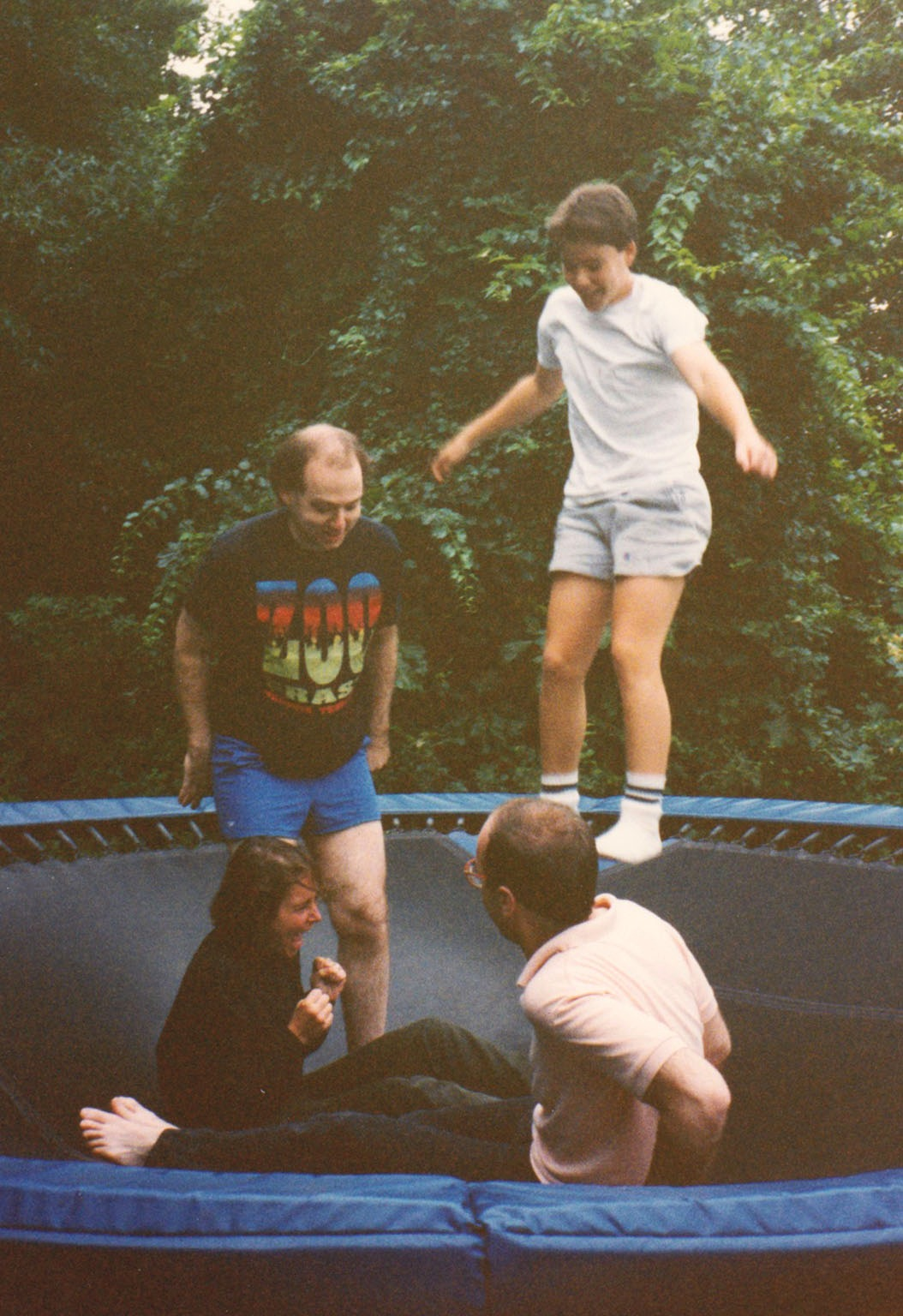on the trampoline with my siblings