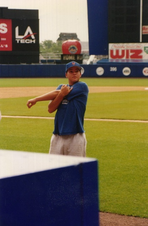 stretching at Shea Stadium before a Mets tryout
