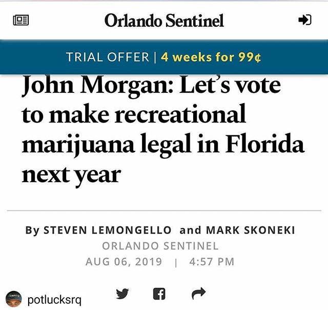 "#Repost @potlucksrq • • • • • ""Orlando lawyer John Morgan on Tuesday backed a campaign to legalize recreational marijuana in Florida through a constitutional amendment in 2020, declaring that ""I am too old to care"" about opposition to the proposal. ""I believe that #marijuana should be legal!!"" Morgan wrote on his Twitter account. ""I think we have time and I think there is money to get it done. I already have the minimum wage signatures. Let's do this maybe, forget Tallahassee!"" . . . . #flmmj #hemp #cbd #cbdoil #medicalmarijuana #srq #srqlife #downtownsrq #srqfitness #srqyoga #sarasota #sarasotaflorida #sarasota_florida #sarasotalife #florida #staylucky #siestakey #lakewoodranch #cannabiscommunity #floridammj #normlofflorida #regulateflorida #mjfitness #420fitness #stonergirl #stonerchick #stoner #edibles"