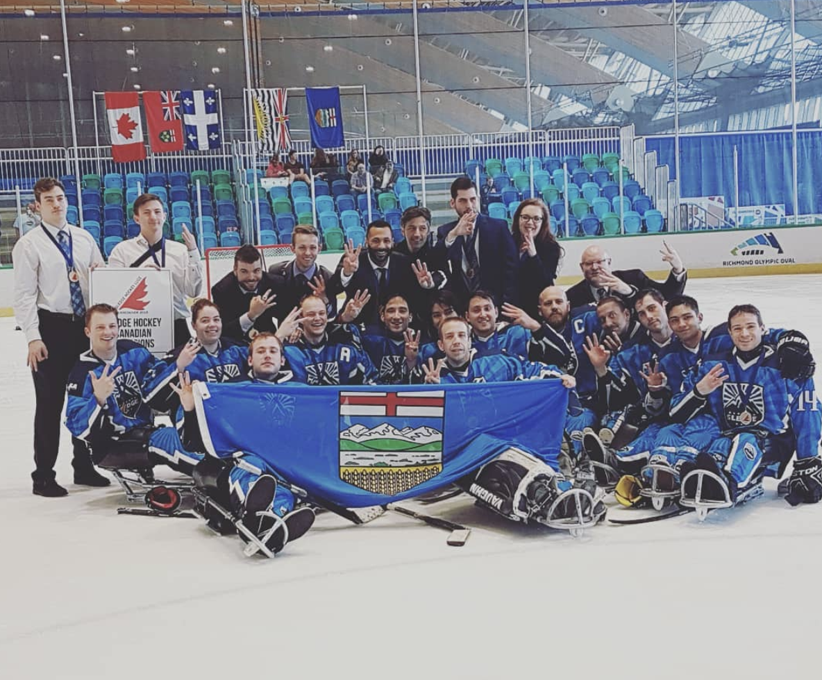Alberta Sledge 2017-2018 team at the 2018 Canadian Sledge Hockey Championships in Vancouver, Canada.