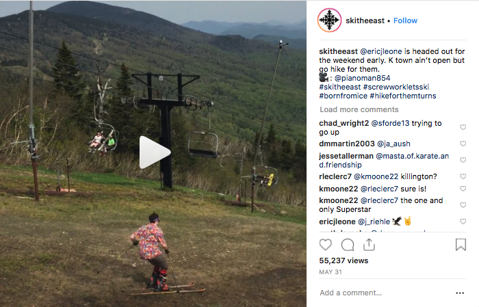 Ski The East Instagram- Spring Grass Skiing, Over 55,000 Views