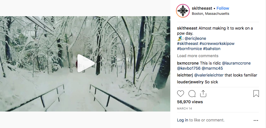 Ski The East Instagram- Boston Skiing Commute, Over 56,000 Views