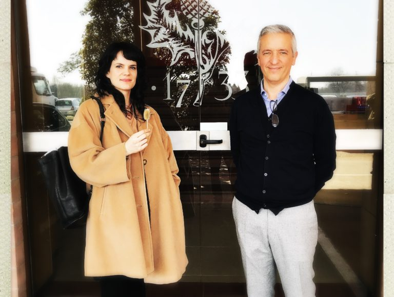 Elizabeth Cline with James Pella, production manager at Piacenza Cashmere in Biella Italy.