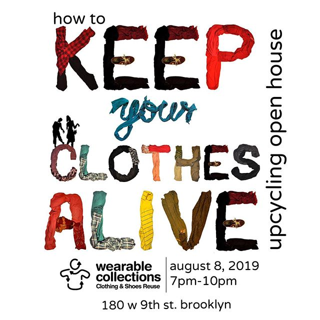 """🎉 Join @wearablecollections for our very first community upcycling event and open house on Thursday, August 8! 7-10pm. Admission is FREE! Enjoy FREE snacks and wine! Mingle, hang out, and sip wine while our expert upcyclers demonstrate techniques using Wearable Collections donations. Please RSVP! Evite is bio link! 🎨 Learn to screenprint with @elizabethlcline! 🧵 Learn to darn with @visiblemend! 👚 Learn to set up a sewing machine! 👜 Tie-dye secondhand tote bags! 🗑 Donate your old clothes and #feedthemonster You can also shop our Makers Merch Table, including upcycled handbags by Akilah from Fatra and Elizabeth L. Cline's """"Fashion Activist"""" upcycled t-shirt. #clothingisnotgarbage #upcycle #upcyclersofinstagram #upcycledfashion #thrifted #donatedontdump #resalerocks #sustainableclothing #sustainablelife #fashionactivist"""