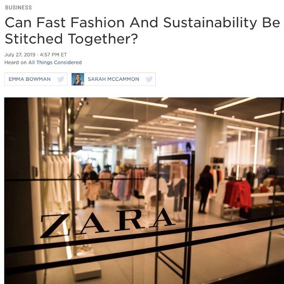 Check out my interview with @npr on Zara's sustainability goals. Another opportunity to hash this out! Can fast fashion be sustainable? Well, let's admit first that the word sustainability is vague, troubling vague, and we always have to ask brands to define what they mean. That's a job for regulators as much as consumers. Can @Zara reduce its environmental impact per unit of clothing? Yes! No doubt. That will in fact be good for business. Can the fashion industry continue to grow and meet our emissions reductions goals? Probably not. And yet it's going to grow anyway, unless we scale alternative business models like circularity, resale, rental, etc. One overlooked aspect of this announcement is that it increases awareness. It prompts a wider audience of fashion lovers to ask What is sustainable fashion? What is so unsustainable about my clothing to begin with? And that curiosity is what we need to make big change. #zara #fastfashion #sustainabilitymatters #climatecrisis #sustainablestyle #consciousfashion #sustainableclothing #fightfastfashionnow