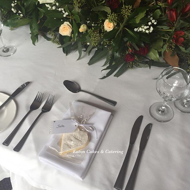 Cookies by @eatoncakes were used as placecards for guests for Jake & Danielle's wedding at @escholparkhouse  Beautiful floral table centrepiece and the cake flowers provided by @oak_n_blossom  #eatoncakes #weddings #cupcakes #cookies #favours #freshflowers #bonbonieres #mrandmrs #weddingplacecards #escholparkhouse #love #ido #cake #macarthurnsw #lovelocal