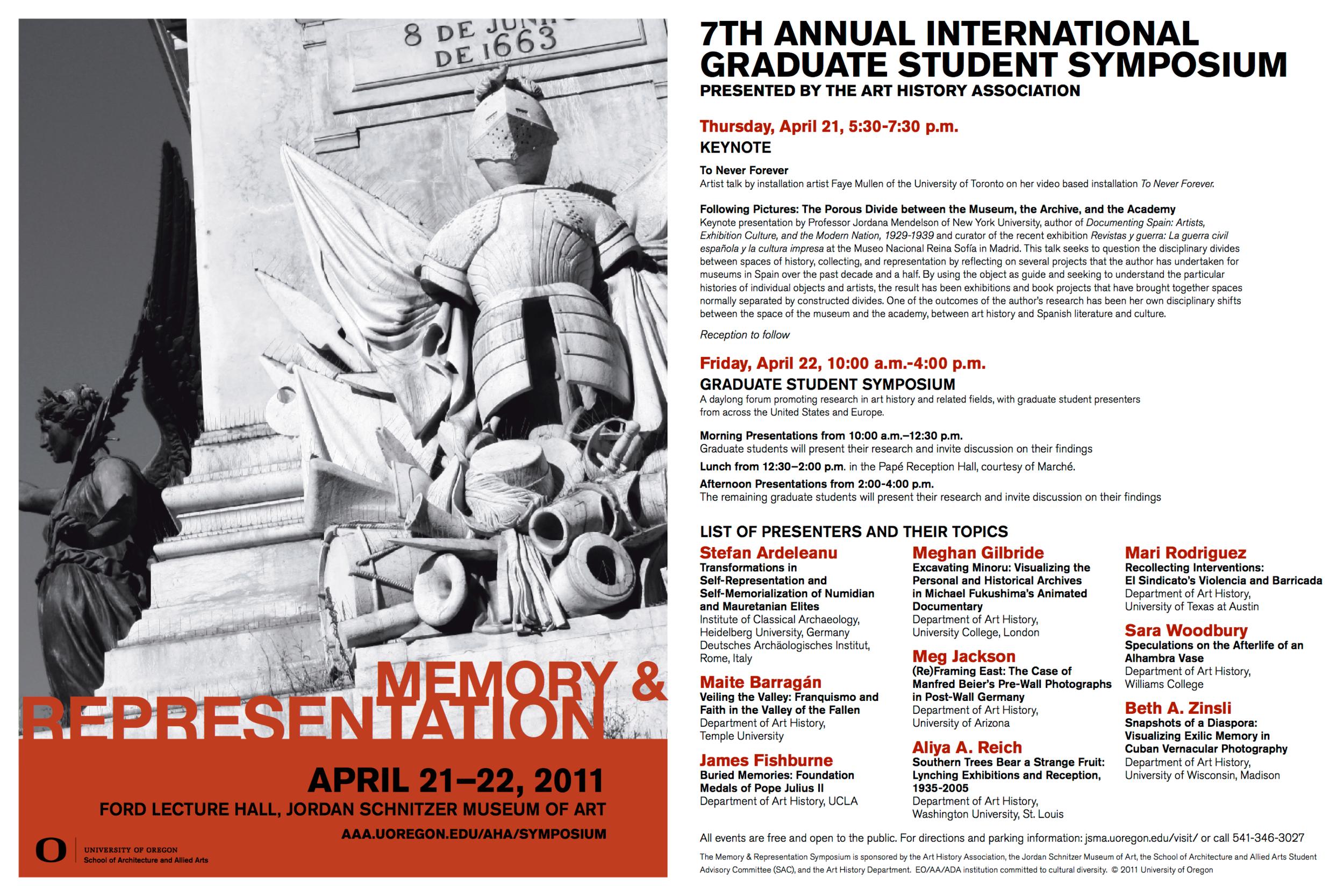 Symposium brochure, University of Oregon, 2011.