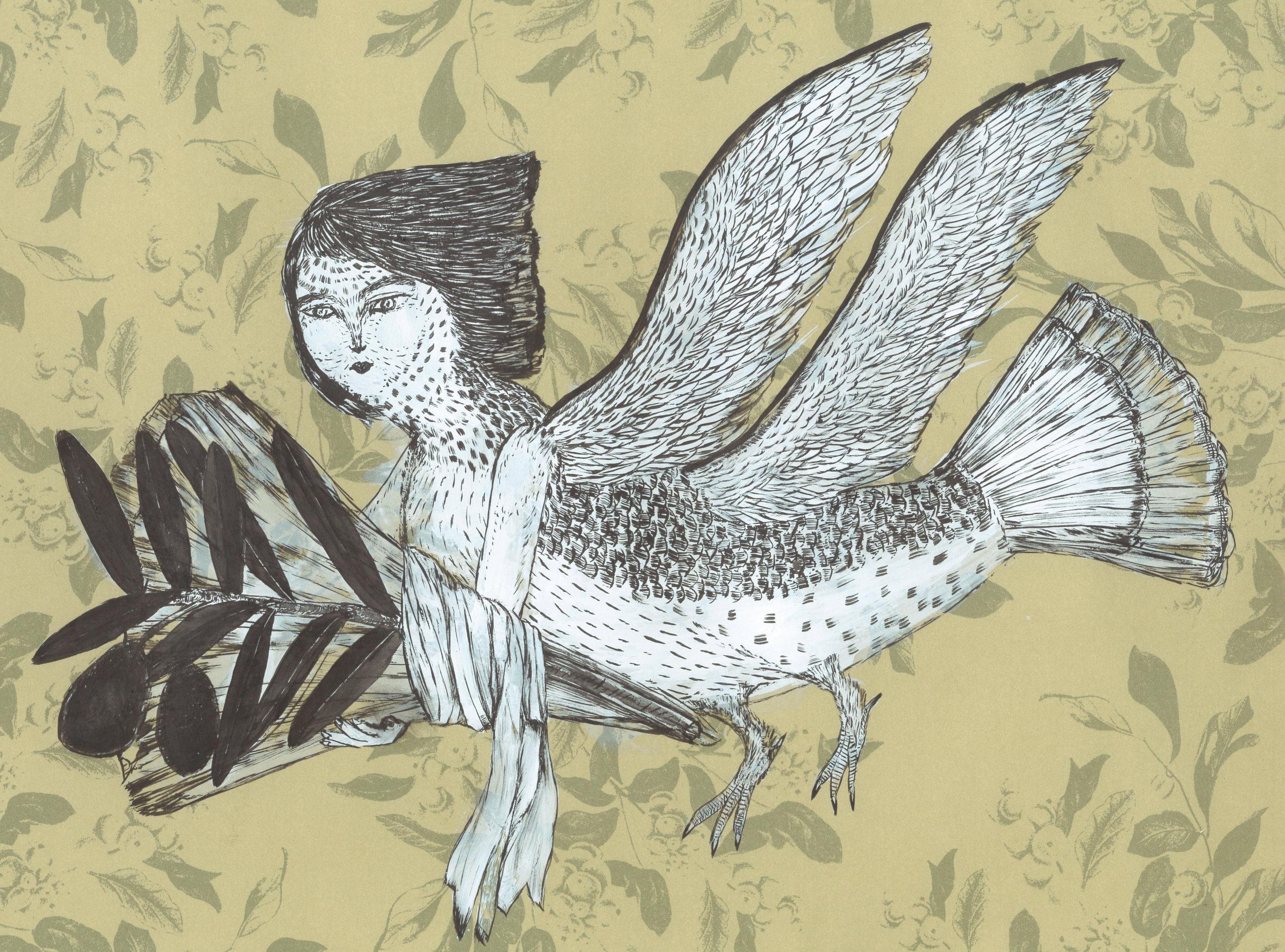 ' 鳩 ' 包装紙にジェッソ、墨 242×333mm 2018