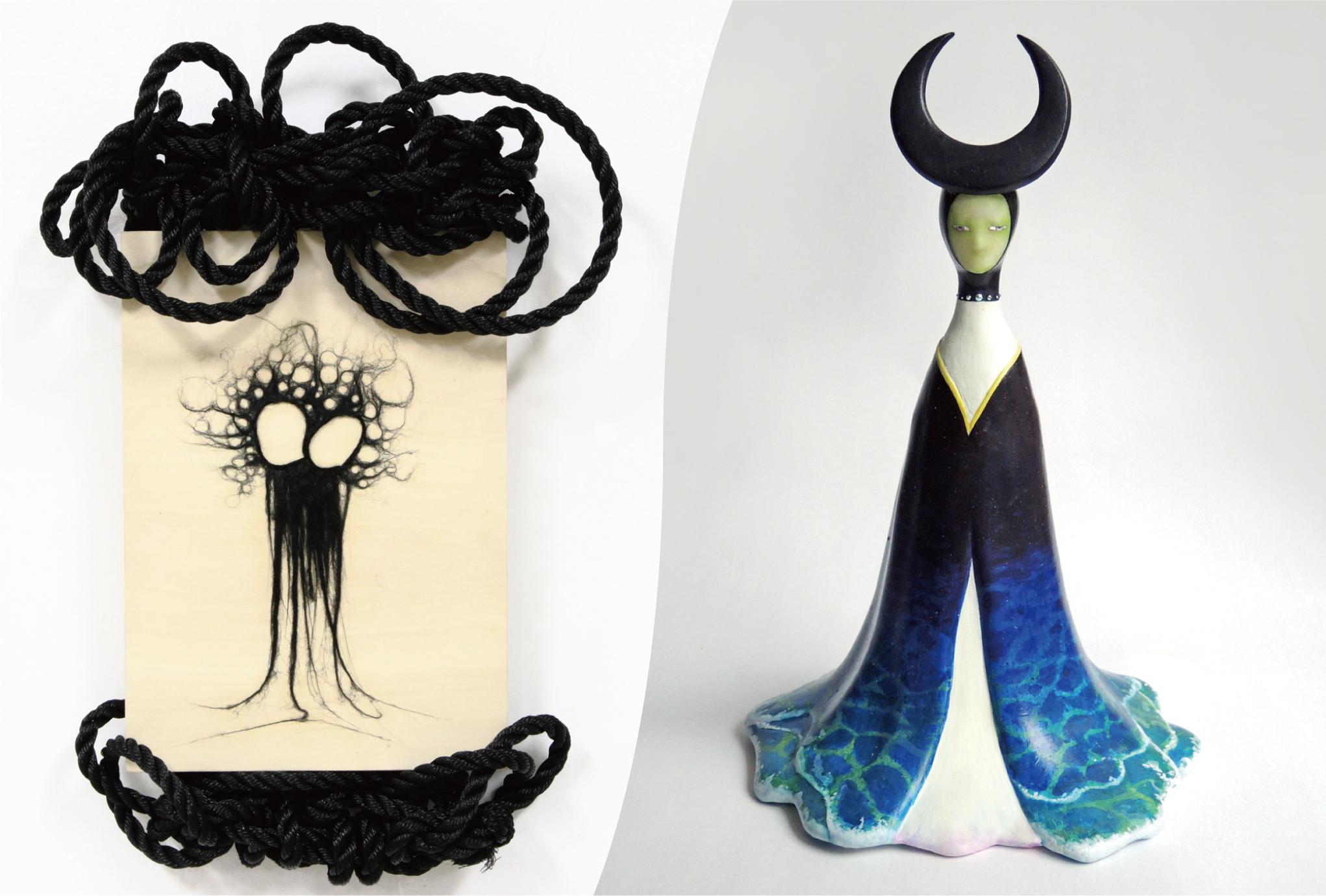 """左:Aira """" kissing """" ウッドパネルに刺繍糸、ウール、炭、ロープ 410×275mm 右 : 石橋ユイ """" ツキヨミ """" mixed media 320×200×210mm"""