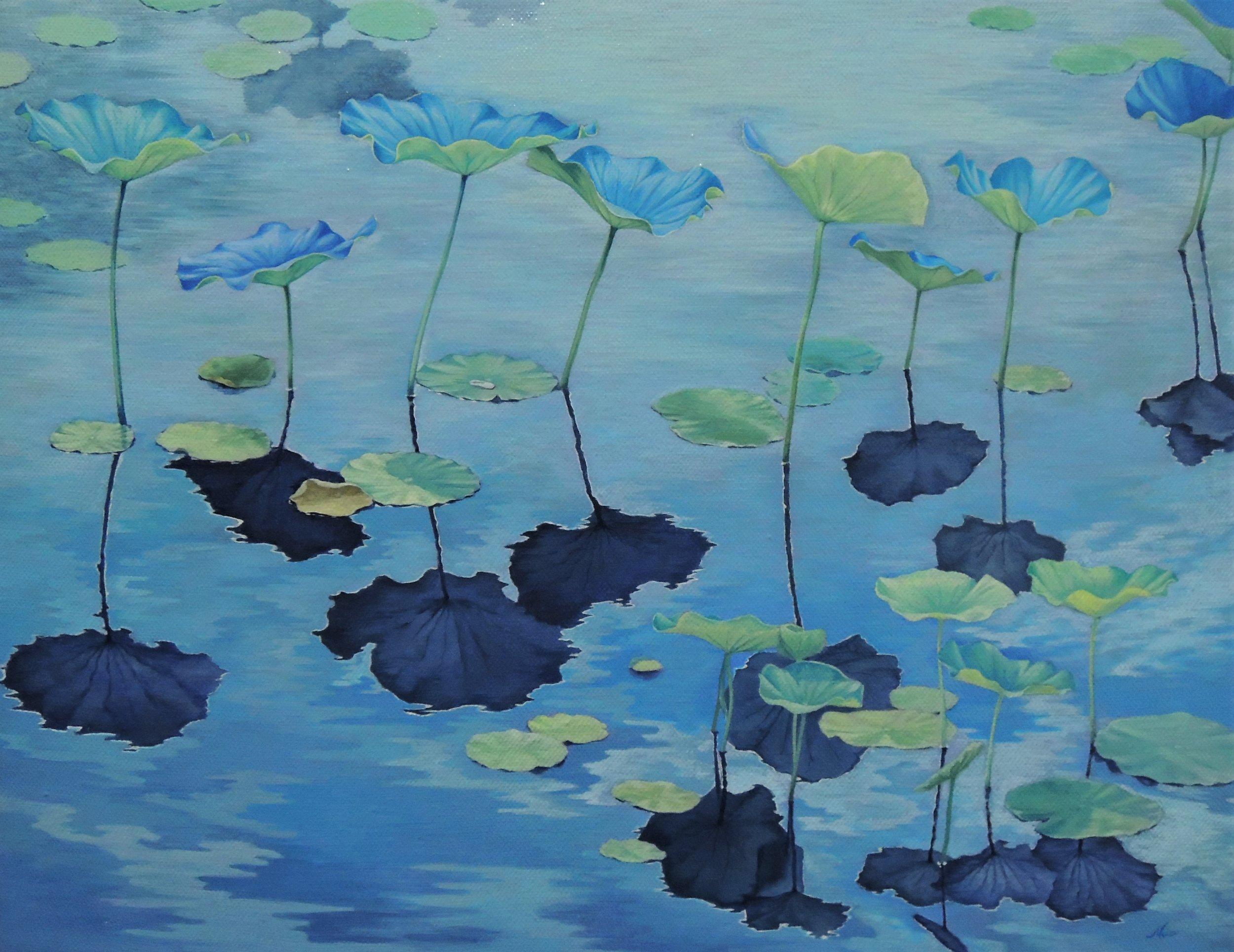 ' 緑 ' acrylic on canvas 158×227mm(部分)