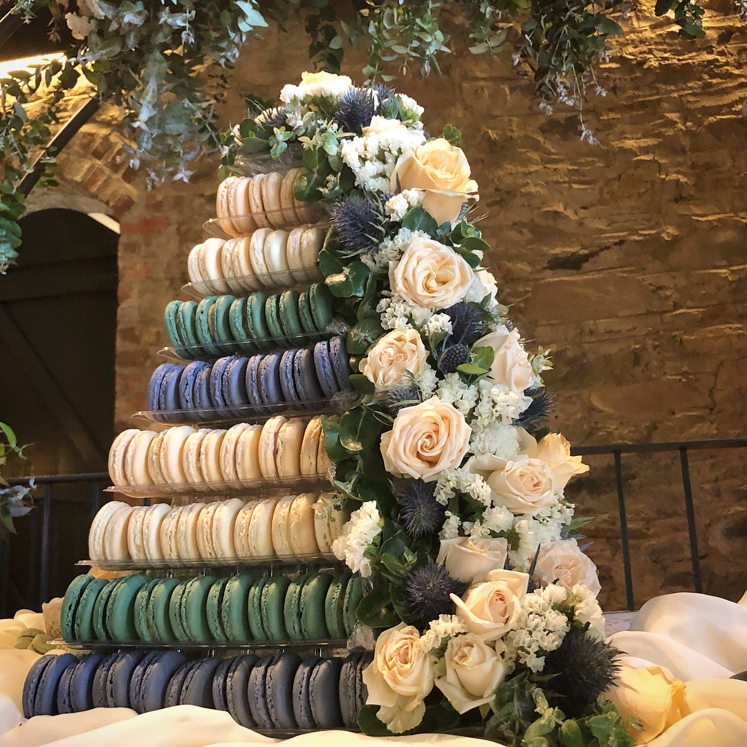 220 Macaron Wedding Tower - Florals by Flavour + Heart