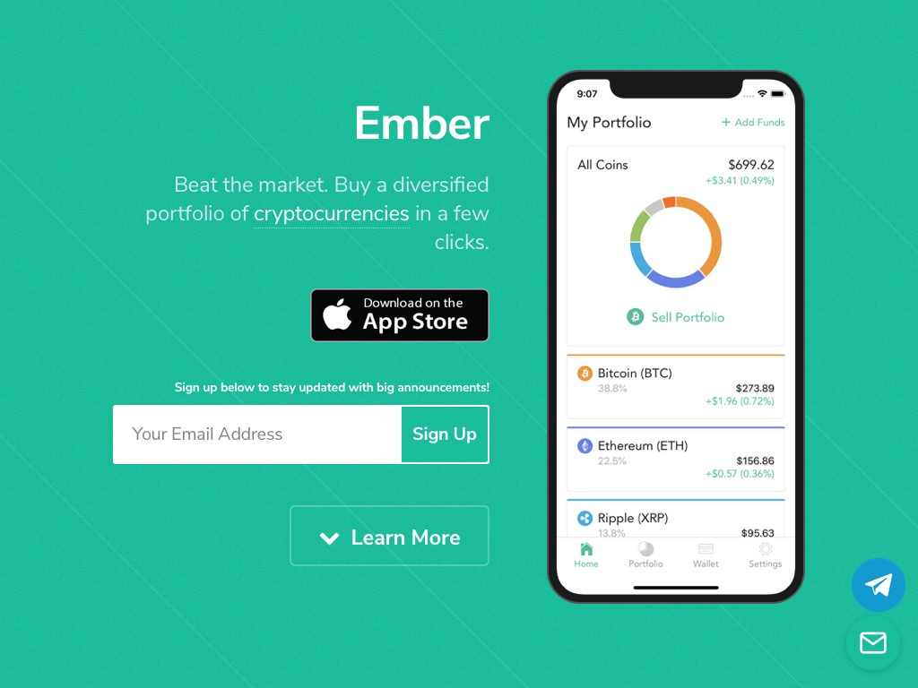 Ember Fund allows you to buy into a portfolio of cryptocurrencies that are automatically rebalanced. Register with $100 or more, and refer a friend. Ember will grant $10 to both clients.