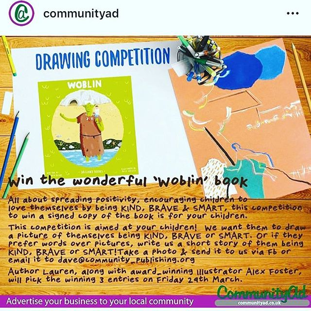 Just a gentle reminder that @communityad is running a children's drawing/writing competition where the lucky winners will win a signed copy of our children's picture book, Woblin! How exciting! There are a few weeks to go until the closing date. We can't wait to see/read all the entries!  Good luck! 😁💚 #competition #giveaway #prizes #freeentry #children #forkids #family #picturebook #bookish #livereading #lovewriting #poetry #illustration #art #picturebook #kidsbooks #kidsbookstagram #books #forchildren #children #childrenscompetition #win