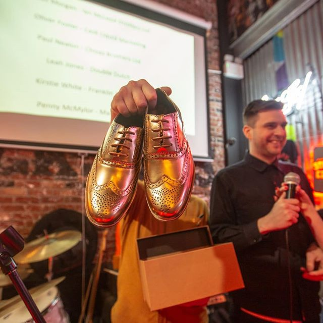 On Tuesday we held our second Manchester Bars Awards. It was quite a bit of fun. We are so proud to be a part of the community up here.  Here we have the prize for probably the most coveted award of the year. The Replife 'Best Dressed Rep' Golden Brogue award.  We had two Golden Brogues, so we awarded one to Olly Foster of Cask and one to Penelope McMylor of Mangrove.  If you want to see more pics link in the bio . . . #replife #goldenbrogues #MBA19 #NRB19 #bestdressedrep