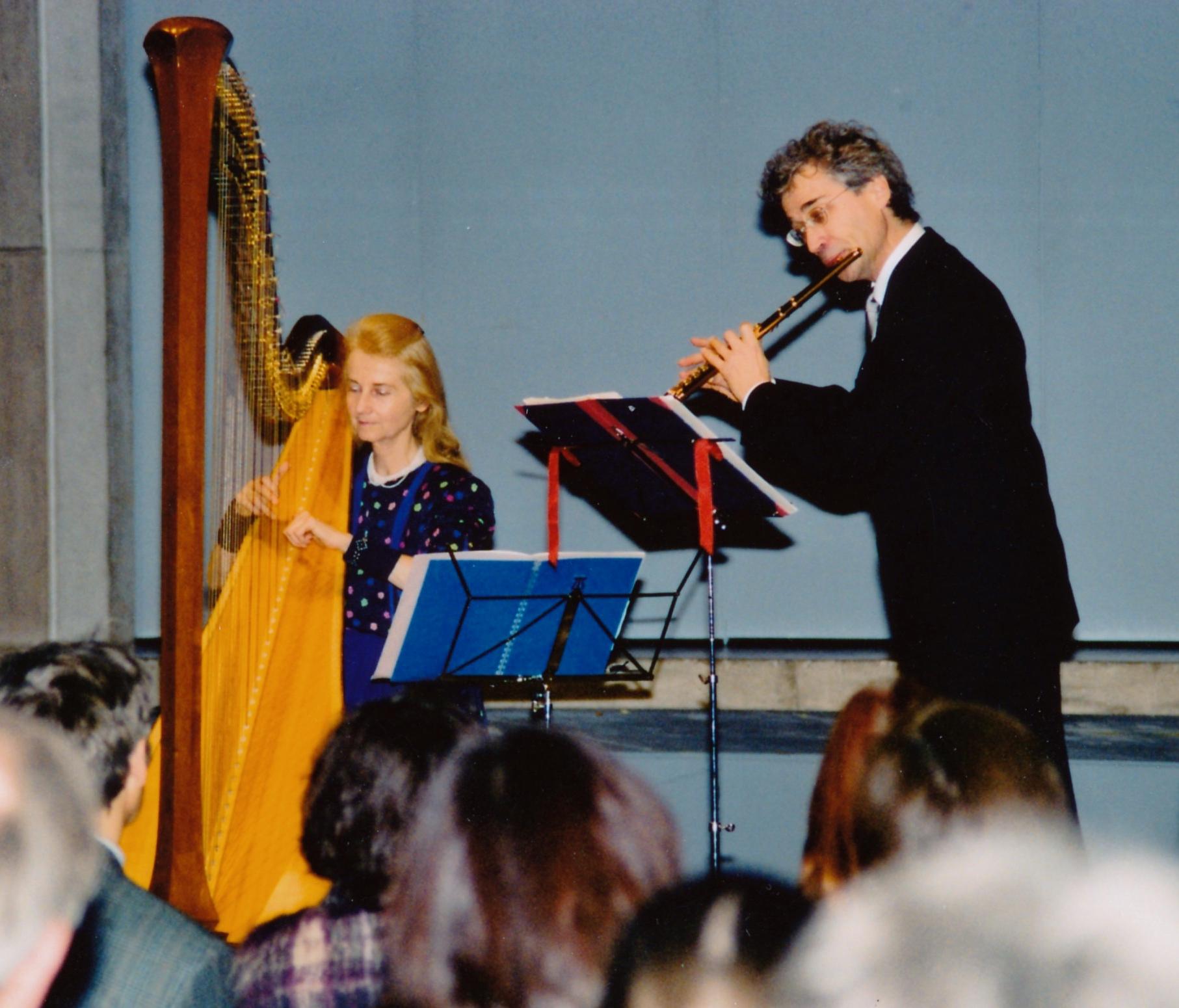 2002, with harpist Ursula Holliger (1937-2014)