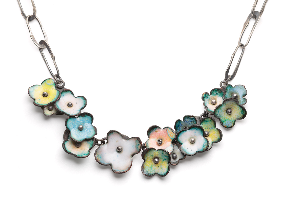 big floral garland necklace in mixed pastel