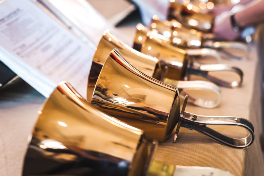 Handbells - Created in England to provide a practice instrument for the carillons (bell towers), handbells are miniature versions of those bells and now add another musical dimension to our worship services. Handbell Ensembles require people with coordination and good rhythm.The Summerhill campus has two choirs comprised of persons with different skill levels, and those choirs alternate playing in worship during the months of August through April. Rehearsals are each Tuesday at 12:30 and 1:45 p.m. during those months. Auditions are not required.Interested ringers in all levels should contact Jean Butler, Handbell Conductor, below for additional information.