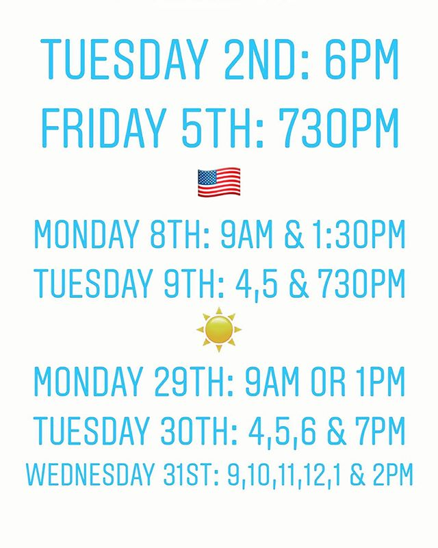 July!!! Here's what I've got left for appointments. Let's keep you moving injury free through the summer. 🍹 🎇 ☀️ #massage #sport #liftalltheweights #runallthemiles #enjoylife