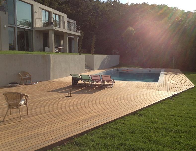 Decking area beside pool