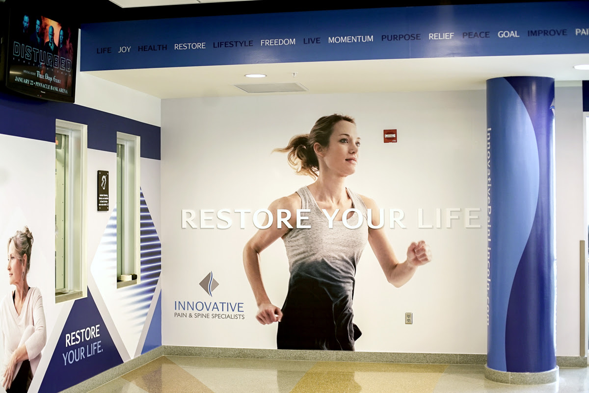 Sample healthcare branding and marketing on the walls