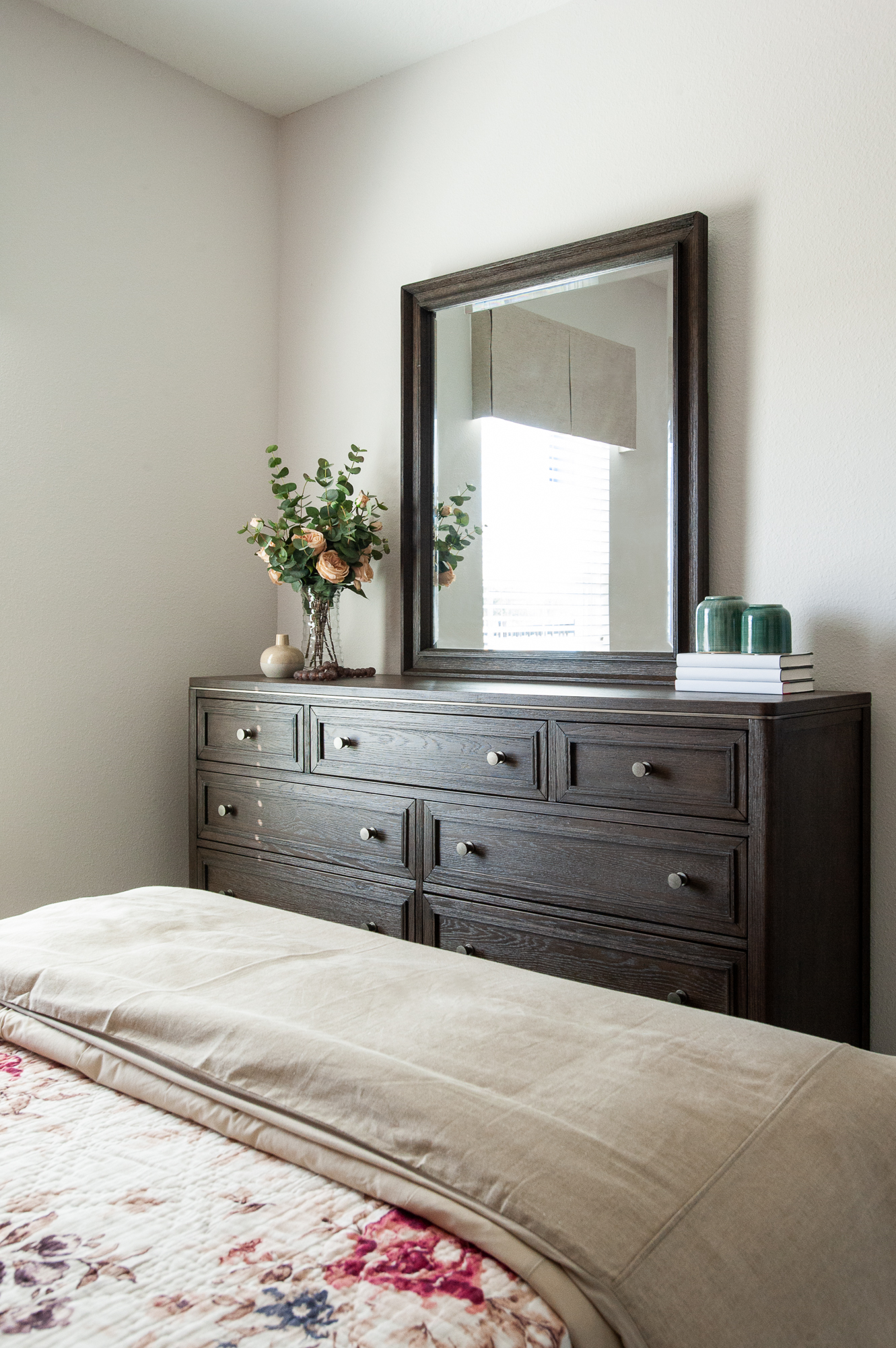 Micamy_Interior Designer_Design_Interior_Model_Merchandising_Guest Bedroom_Accent Wall_Uttemrost_UniversalFurniture_Schumacher_AmityBedding_Dresser_Blog.jpg