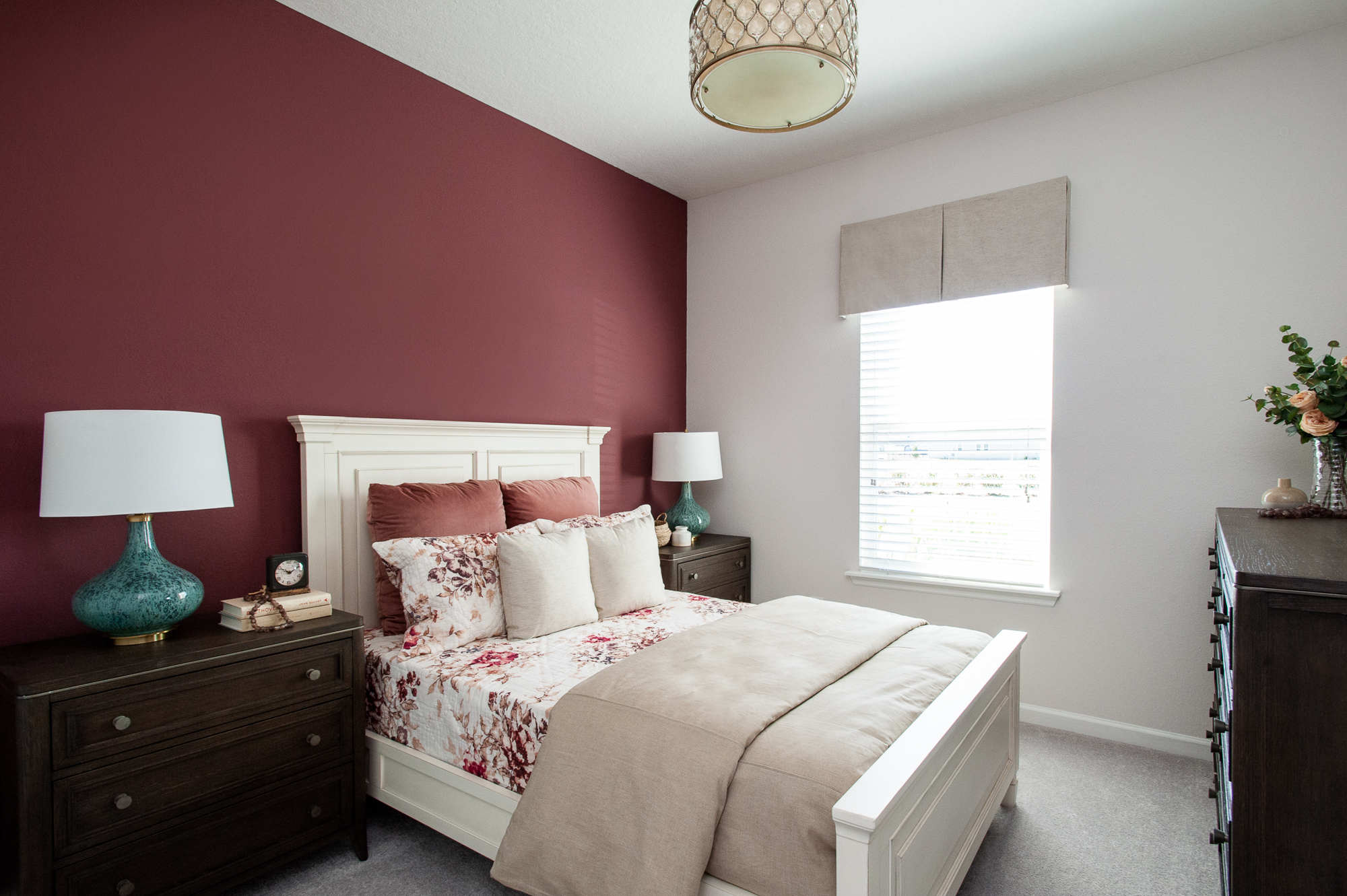 Micamy_Interior Designer_Design_Interior_Model_Merchandising_Guest Bedroom_Accent Wall_Uttemrost_UniversalFurniture_Schumacher_AmityBedding_Lennar_Blog_White Bed.jpg