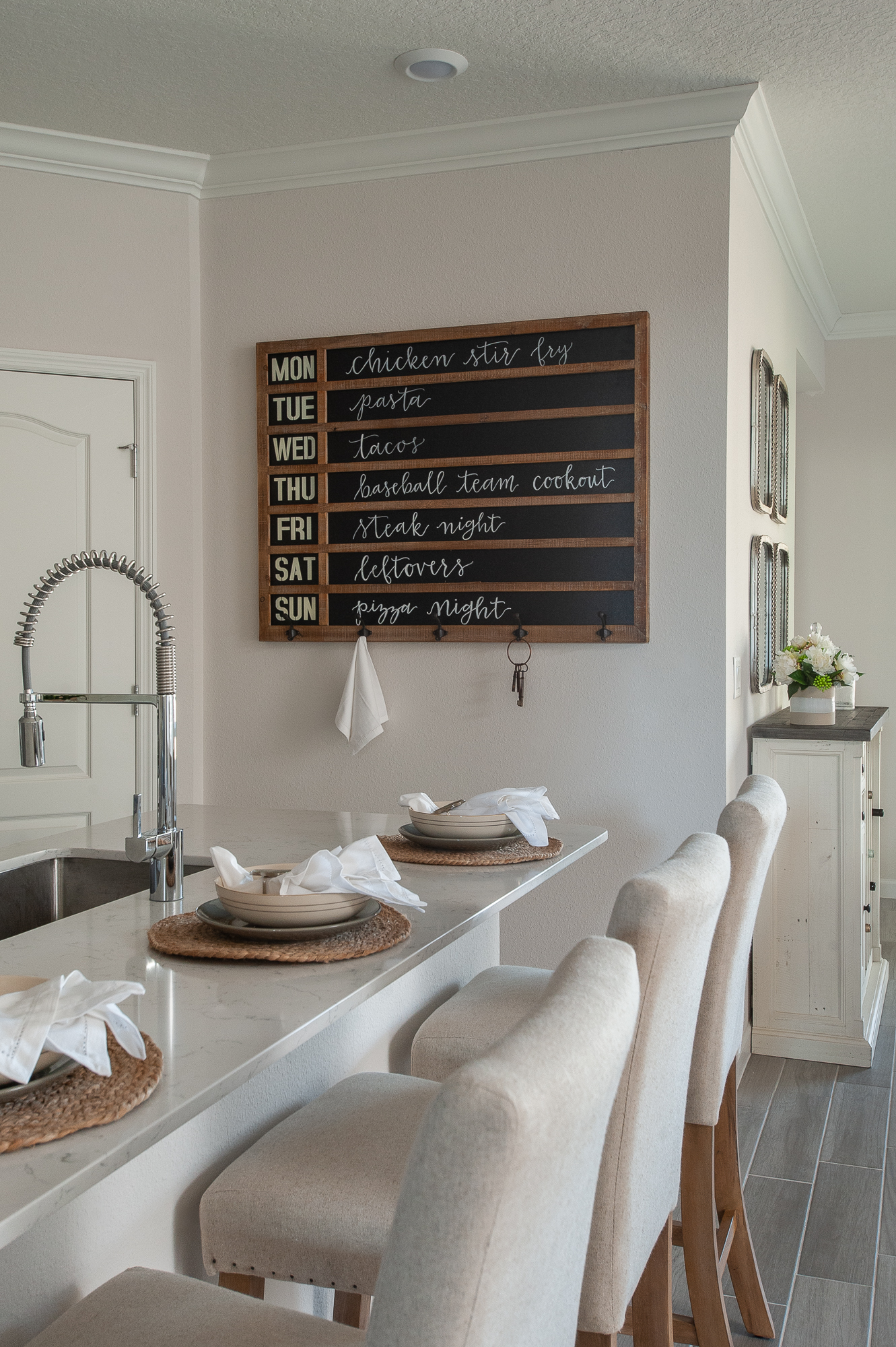 Micamy_Interior Designer_Design_Interior_Model_Merchandising_Kitchen_Grey_Cabinets_Forty West_Lennar_Place Setting_ChalkboardMenu_Faucet.jpg