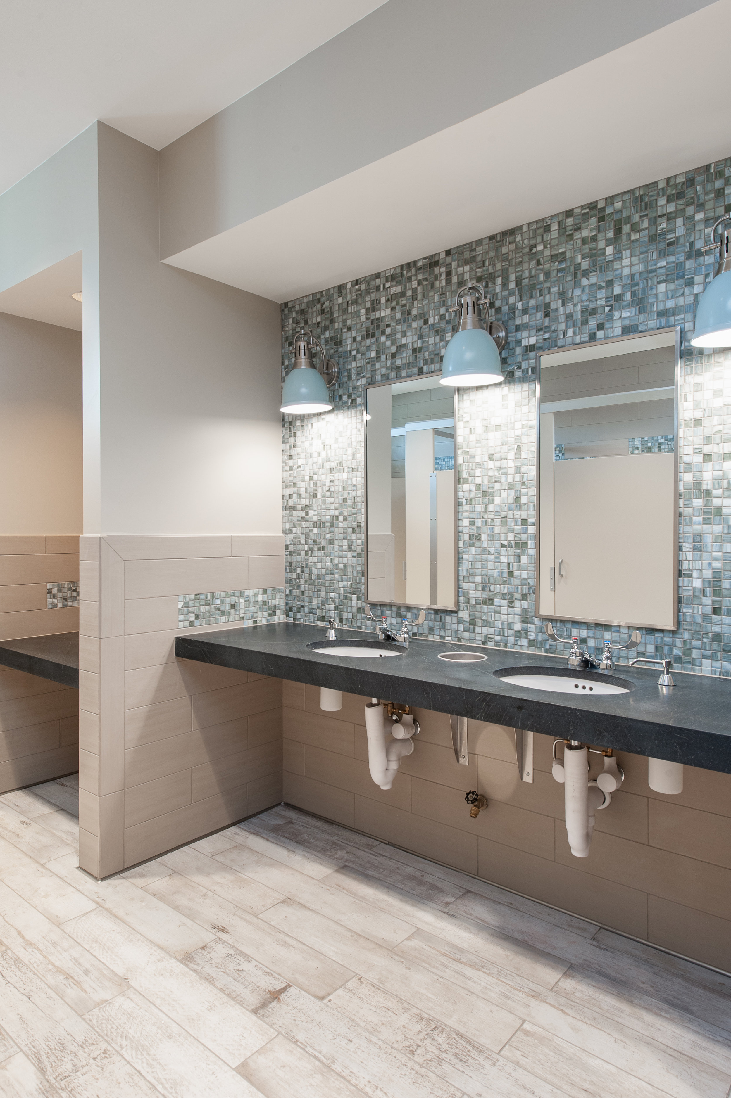 Micamy Design Studio_Interior Design_Beacon Lake_Amenity Center_Clubhouse_New England Style_Nautical_Glass_Mosaic_Tile_Sconce Restroom_Soapstone_Lantern_Wallpaper_Blue_.jpg