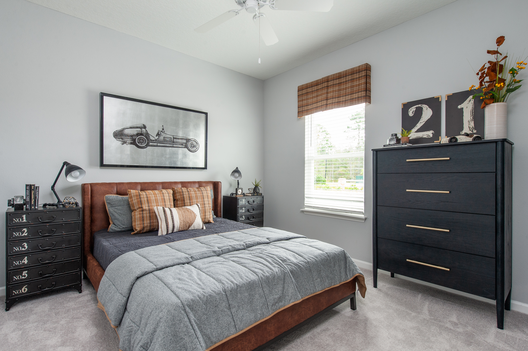 Micamy Design Studio_Model Home_Interior Design_Orchard Cove_Modern Coastal_Universal_Four Hands_McGee & Co_World Market_Wendover_Car Artwork_Leather Bed.jpg