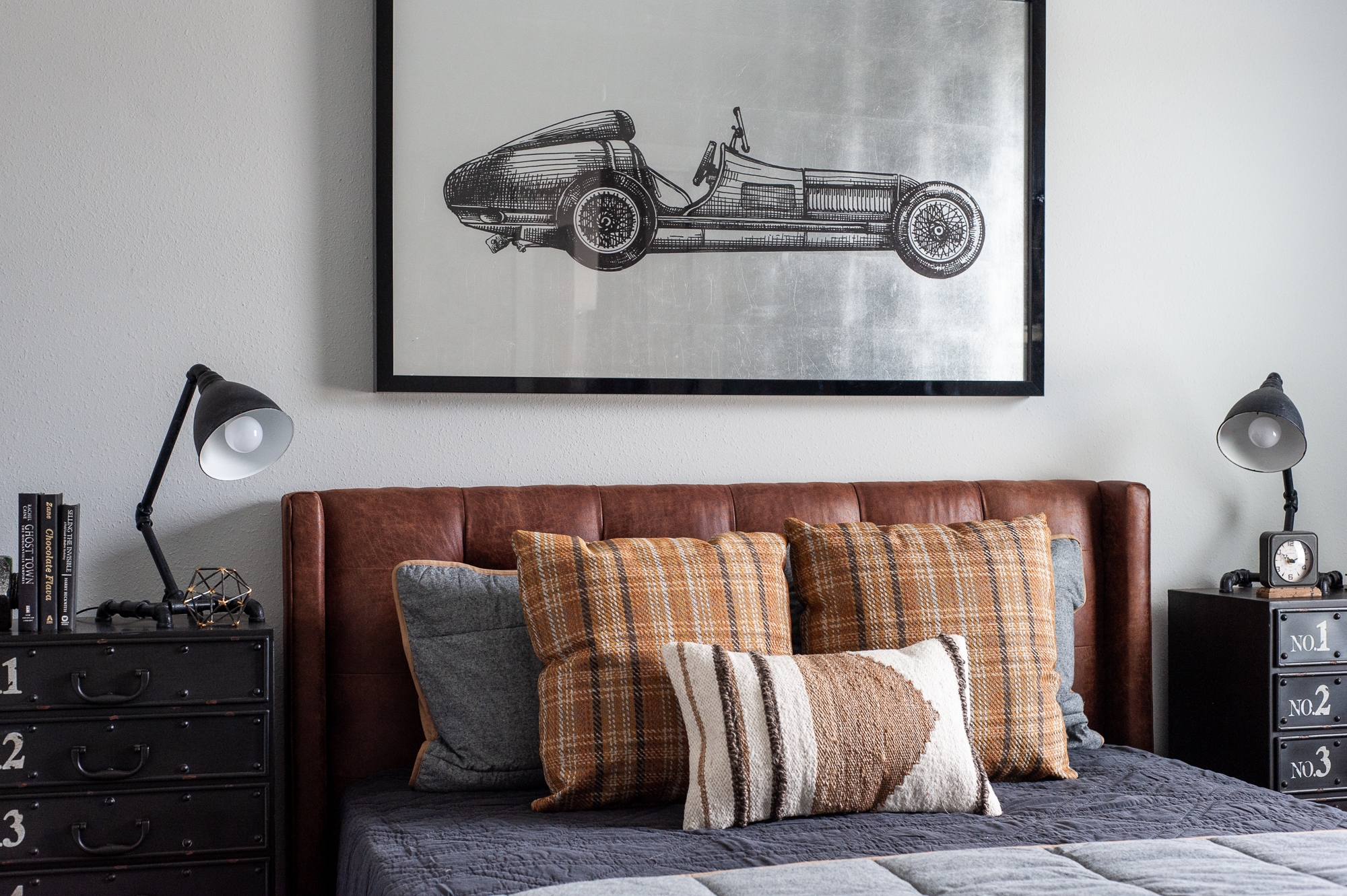Micamy Design Studio_Model Home_Interior Design_Orchard Cove_Modern Coastal_Universal_Four Hands_McGee & Co_World Market_Wendover_Car Artwork_Leather Bed_Plaid.jpg