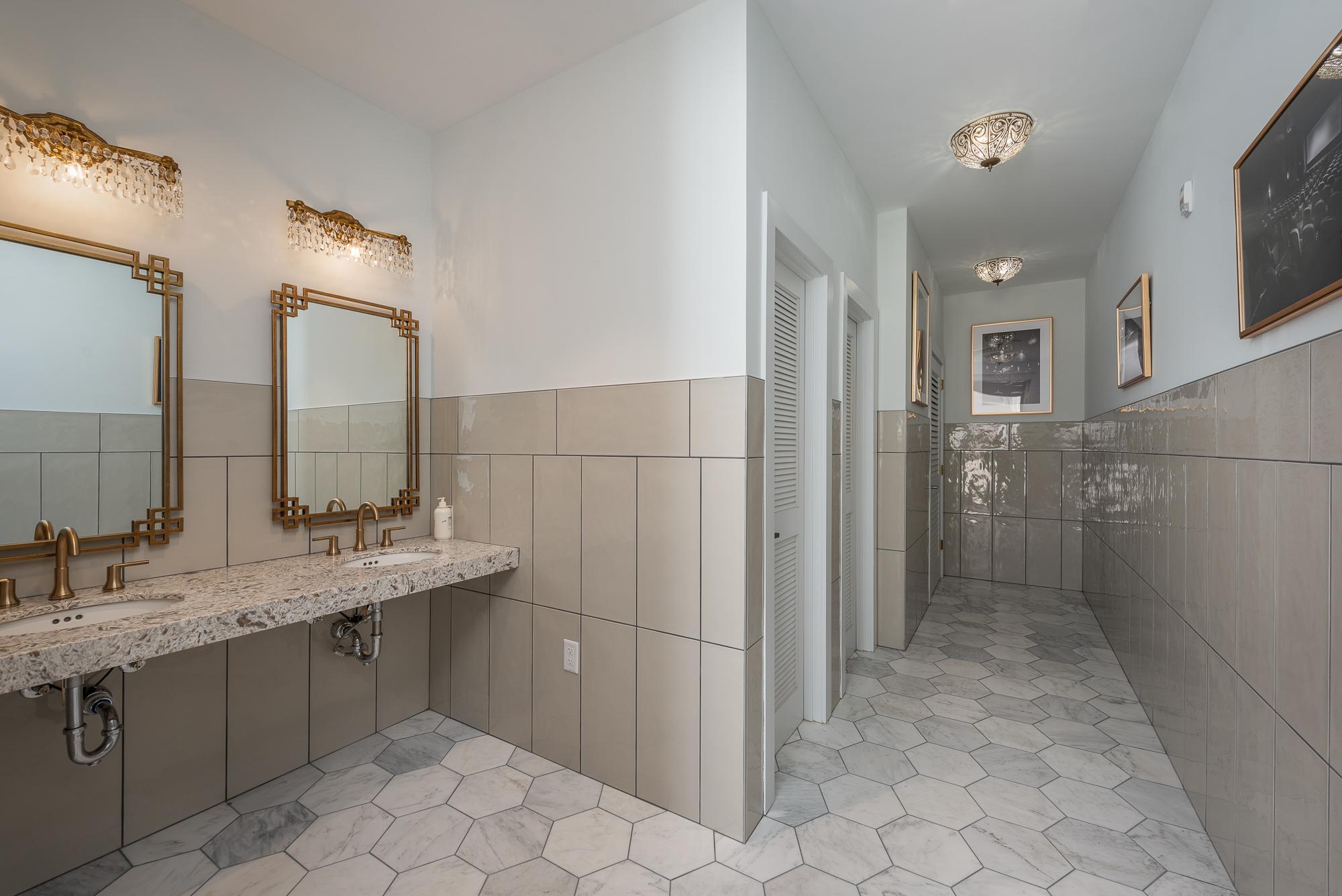 Micamy Design Studio_Interior Design_Clay Theatre_Event Space_Venue_Wedding_Art Deco_Modern_Marble Tile_Decorative Tile_Bathroom_Hexagon_Cambria_Sconce.jpg