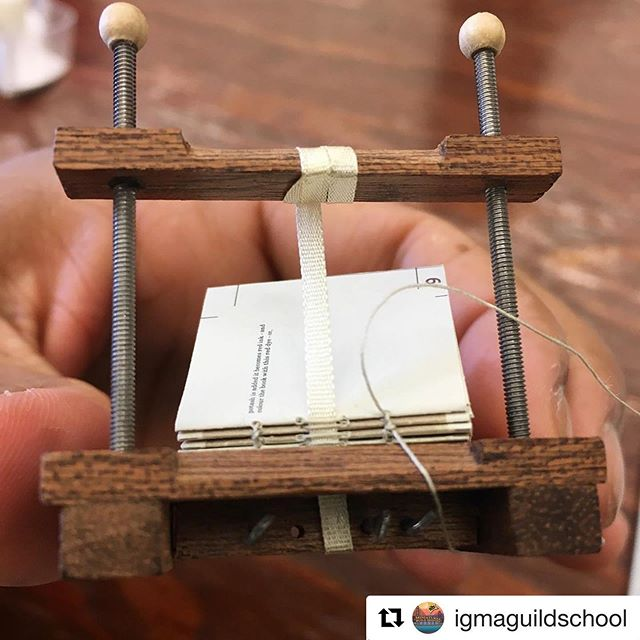 "#Repost @igmaguildschool with @get_repost ・・・ Tine Krijnen is teaching ""Bookbinding and Gold/Silver Tooling"" this week. 📚 Here's a work-in-progress shot from @petite.afrique. ✍️ #tinytuesday"