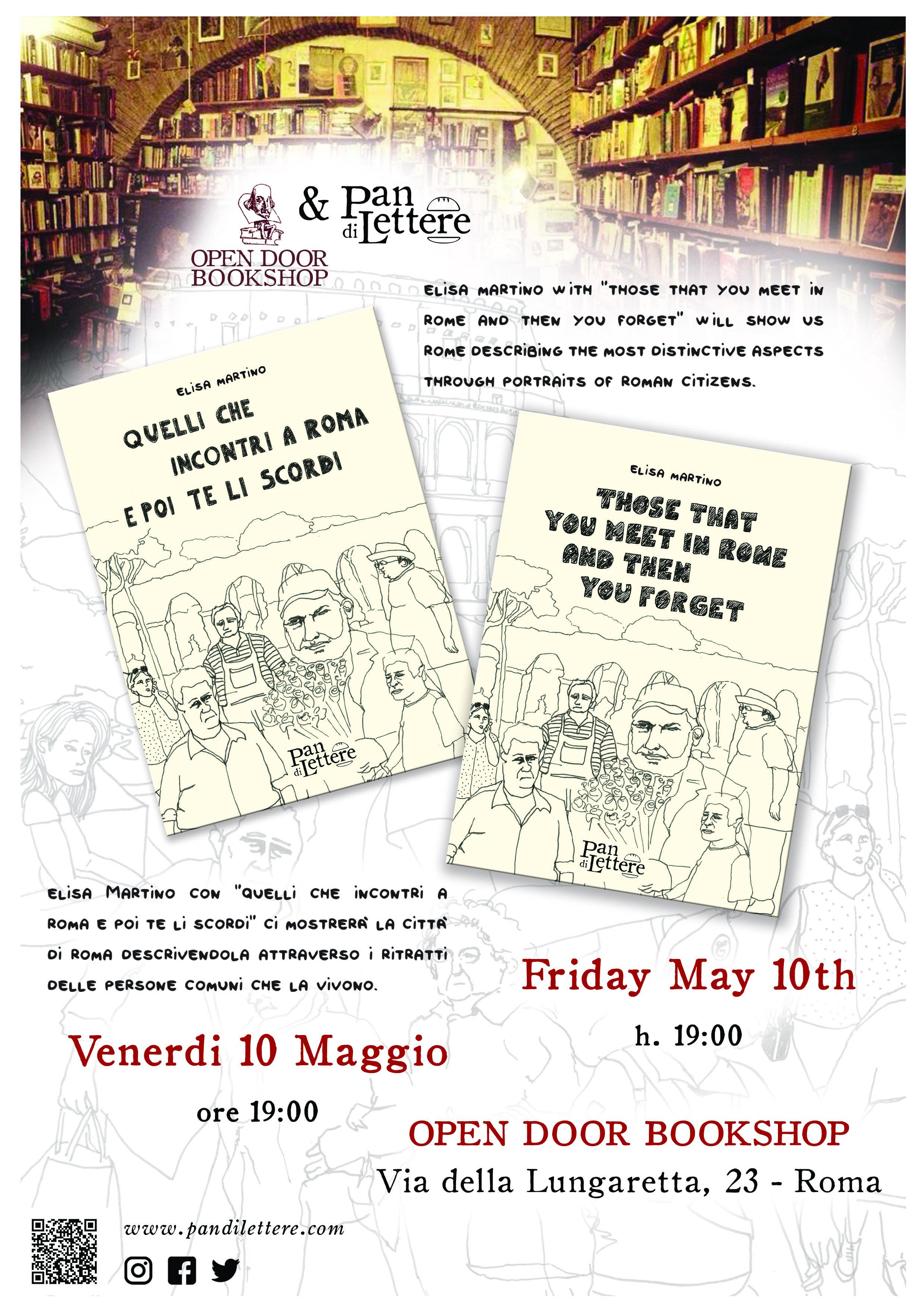 Venerdì 10 maggio 2019 ore 19.00 - Interverranno con l'autrice: Lara Di Carlo, editrice.L'evento avrà luogo presso la libreria Open Door BookshopVia della Lungaretta, 23 – Roma