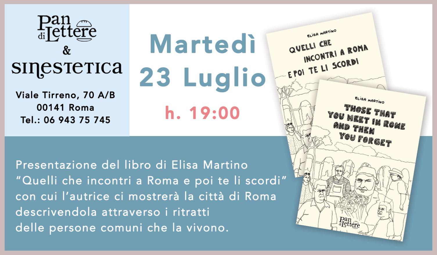 Martedì23 Luglio 2019 ore 19.00 - Interverranno con l'autrice: Lara Di Carlo, editrice.L'evento avrà luogo presso SinesteticaViale Tirreno, 70 A/B – Roma