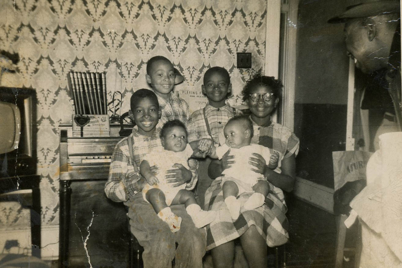 Joan Matthews-El (pictured far right) and her siblings at their Bedford Avenue home, c. 1940s. Courtesy of Kim El.