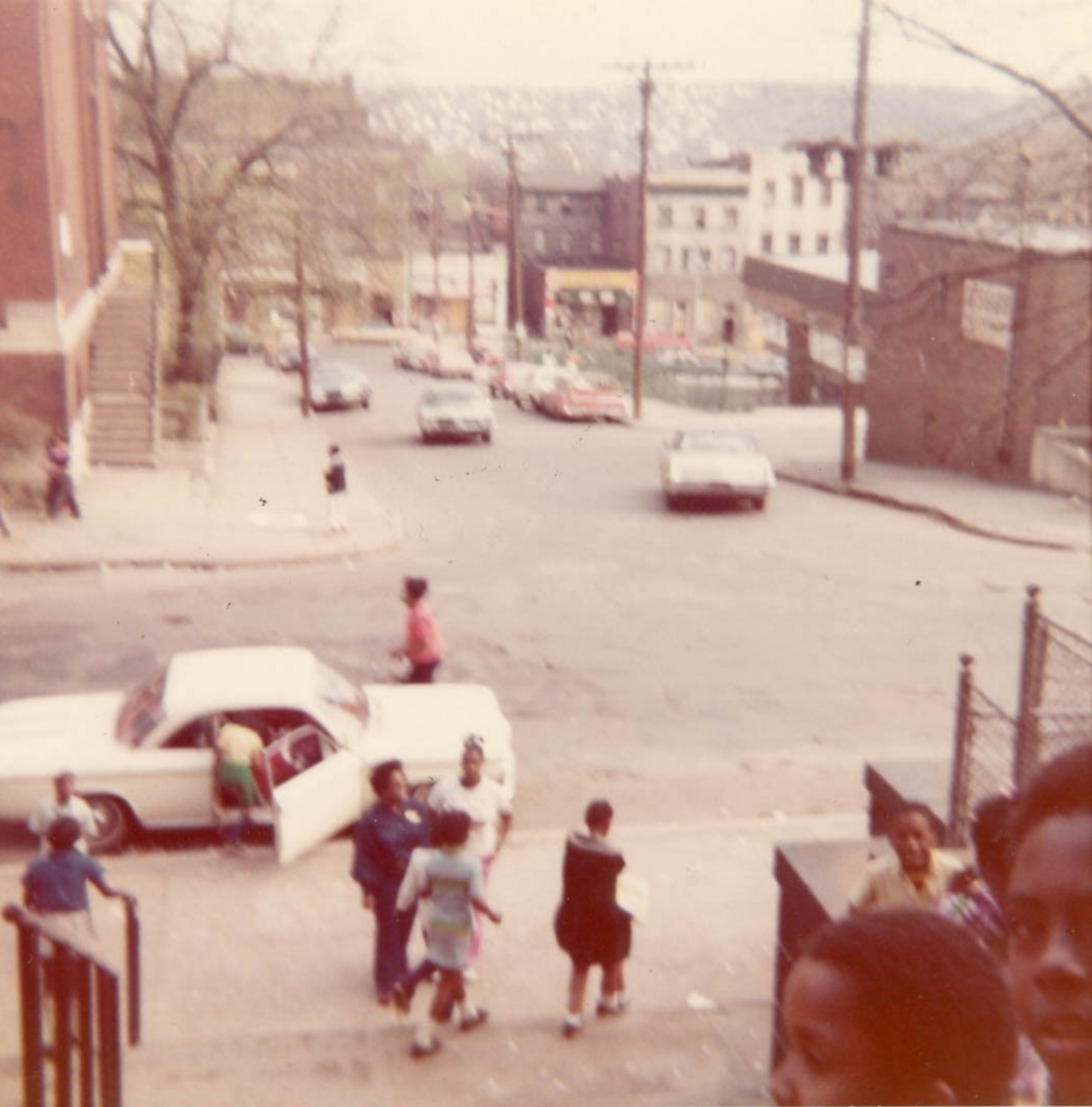Wylie Avenue at Green Street, facing Centre Avenue from the stairs of the Wylie Avenue Branch of the Carnegie Library, circa 1970. Courtesy of the Carnegie Library - Hill District Branch.