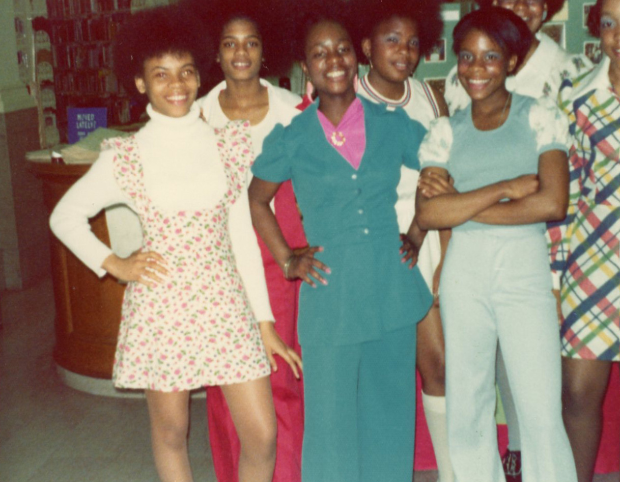A group of school age young ladies at the Wylie Avenue Hill Library c. 1974. Courtesy of the Carnegie Library - Hill District Branch.