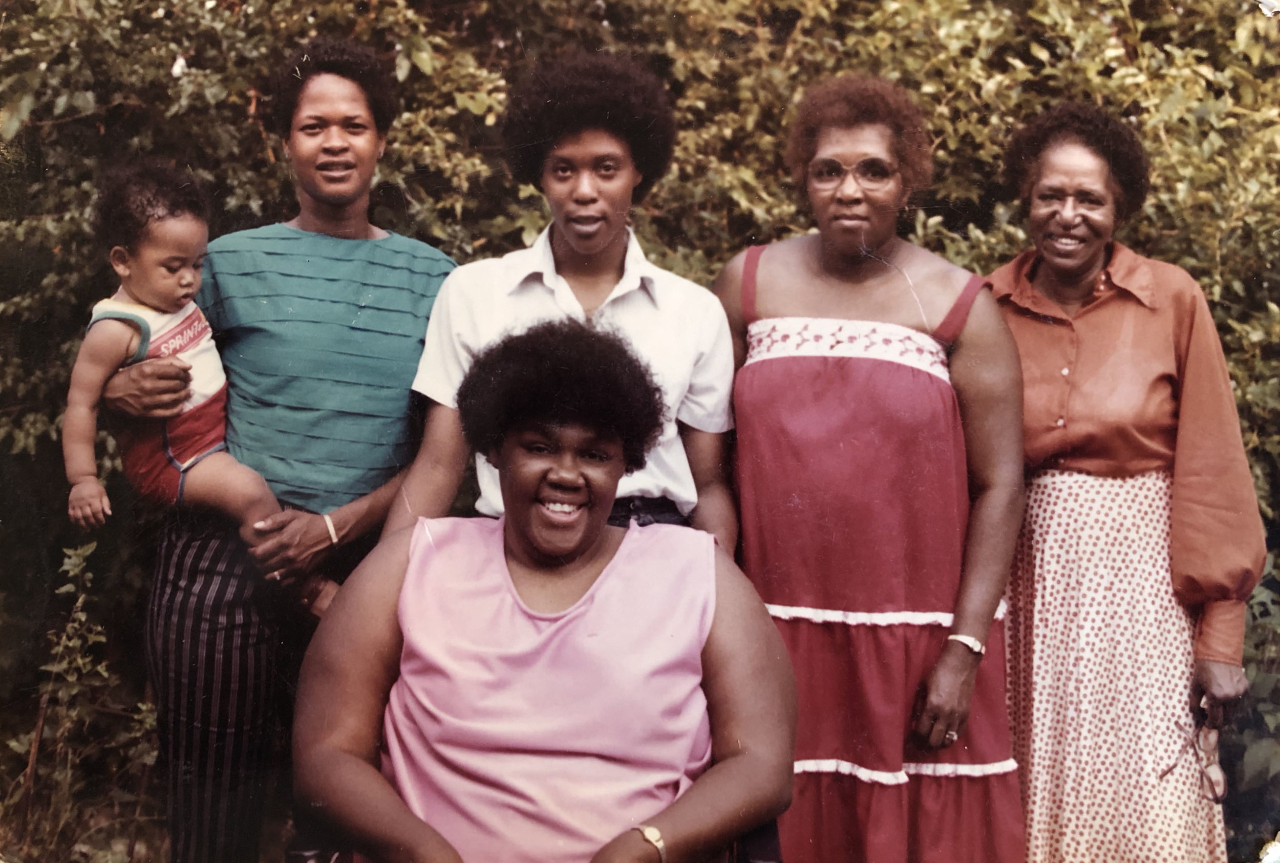 A portion of Carol Hardeman's family in the 1970s, including her sisters, her grandmother Odeal Franklin (far right), and mother Welzetta Hardeman (second to right). Courtesy of Carol Hardeman.