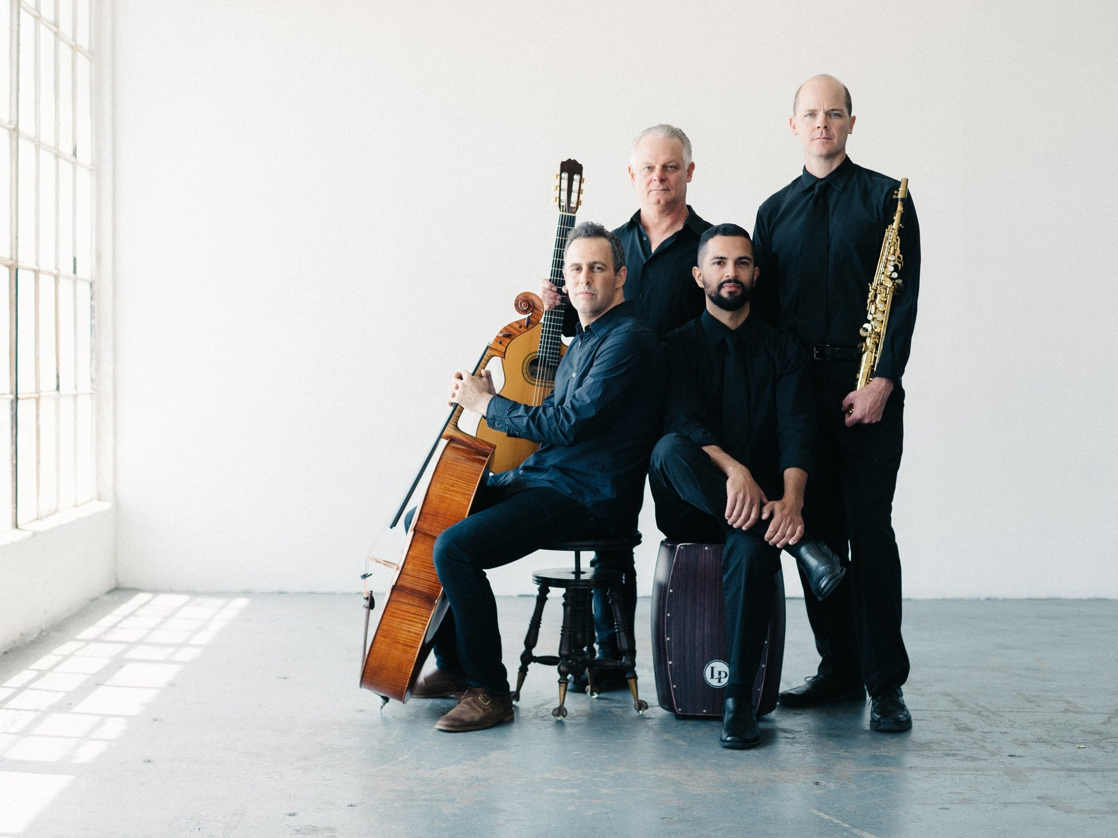 Quarteto Nuevo - January 16, 2020 - 10:30amLA-based Quarteto Nuevo (Damon Zick, soprano saxophone/woodwinds, Jacob Szekely, cello, Kenton Youngstrom guitar and Felipe Fraga, hand percussion) delights audiences in an eclectic array of works from Erik Satie and Claude Debussy, to Astor Piazzolla and Heitor Villa-Lobos, and original compositions that will entertain and surprise.