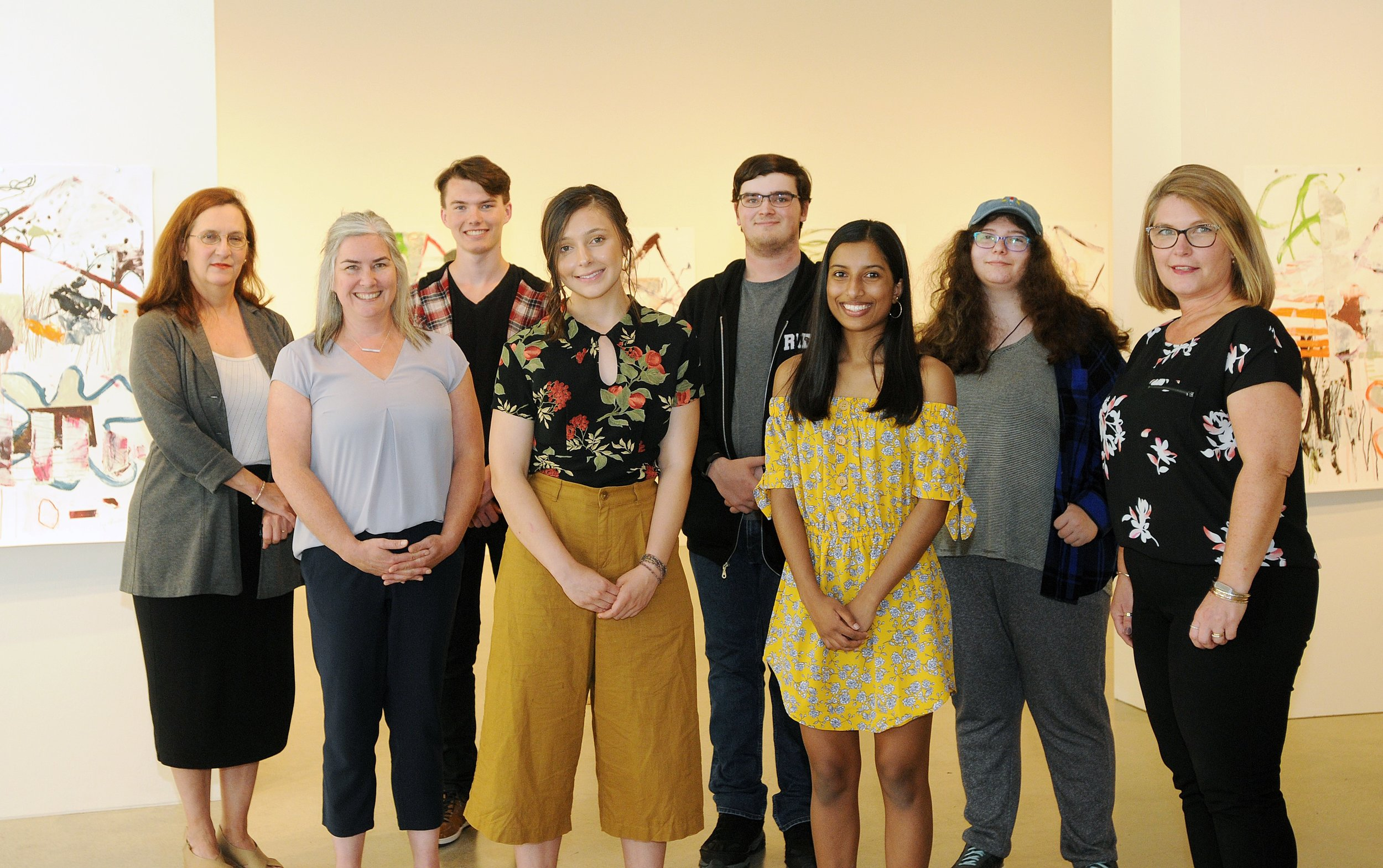 PHOTO From left to right : Curtis Pendleton (Executive Director, The ACT Arts Centre), Kim Dunmore (Board Secretary, Scholarship Committee member), Alexander Guraliuk (Recipient, Literary Arts), Ava Buckley (Recipient, Visual & Media Arts), Logan Walker (Recipient, Visual & Media Arts), Aisha Wewala (Recipient, Theatre), Sophie Lannon (Recipient, Visual & Media Arts), Laura Butler (Board Vice President, Scholarship Committee member)