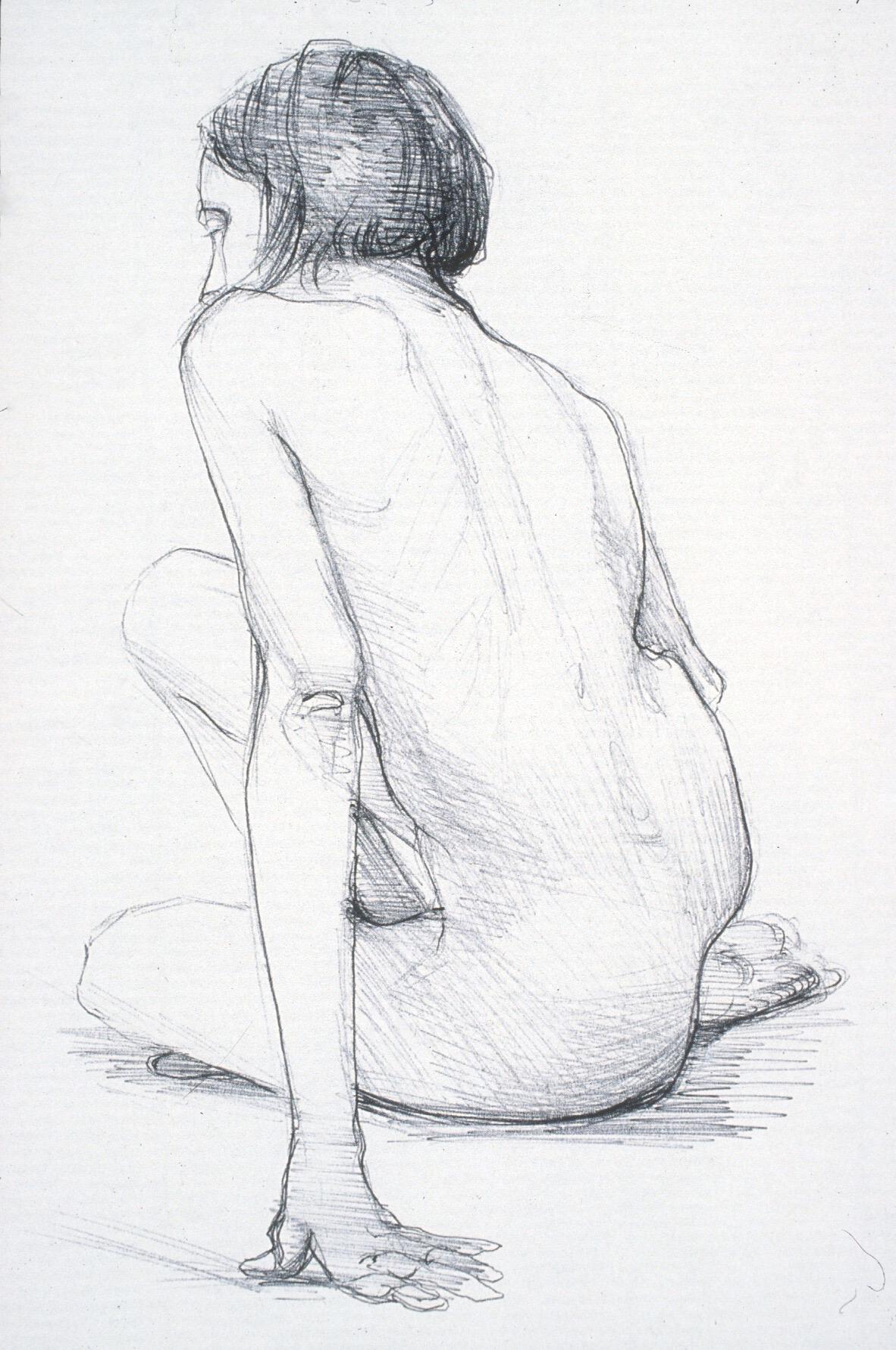"""Lou Ann Burkhardt  Cassie,   2002 Ink on paper 11"""" x 14"""" framed $305"""