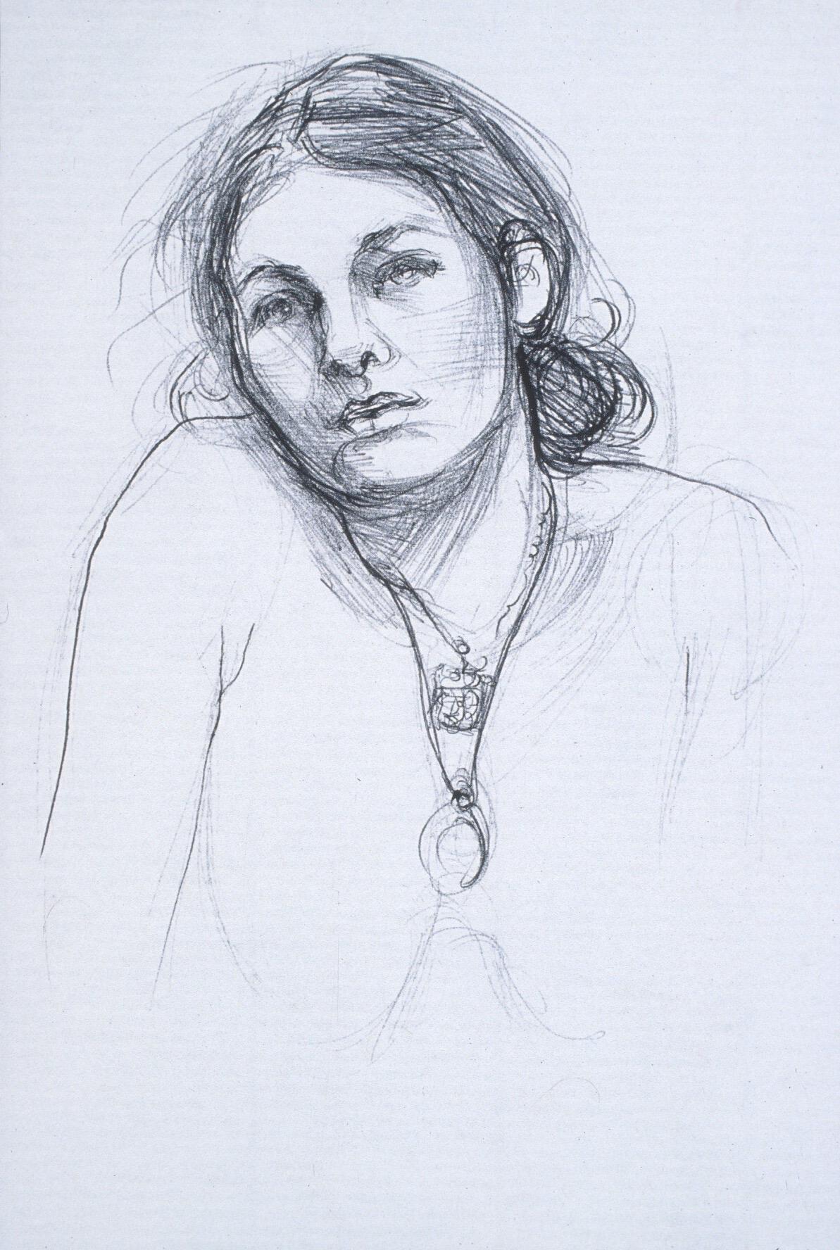 "Lou Ann Burkhardt  Cara,   2002 Pen and ink on paper 11"" x 14"" framed $330"