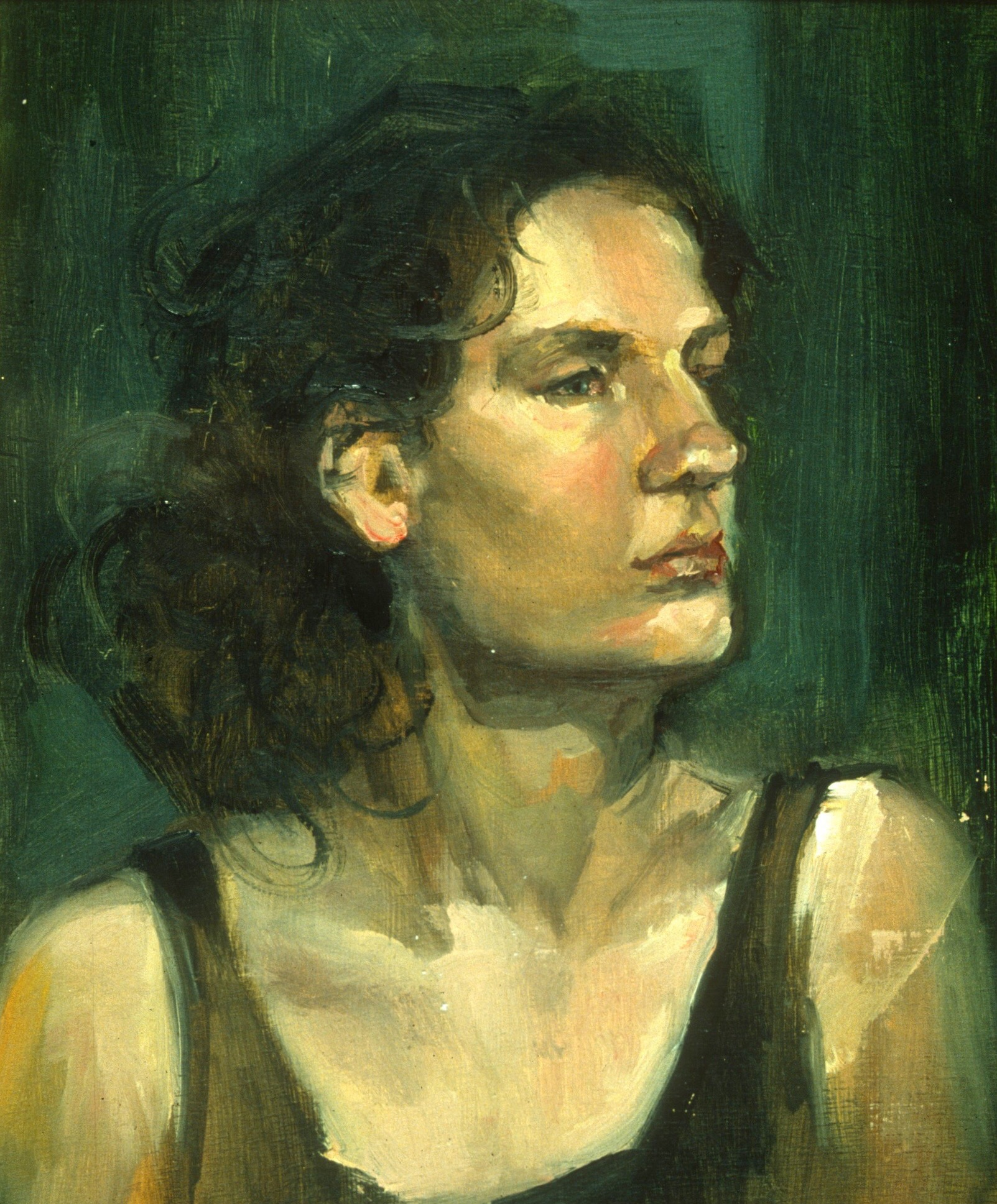 "Lou Ann Burkhardt  Cara (an oil sketch),   2000 Oil on canvas 11"" x 13"" gold frame"
