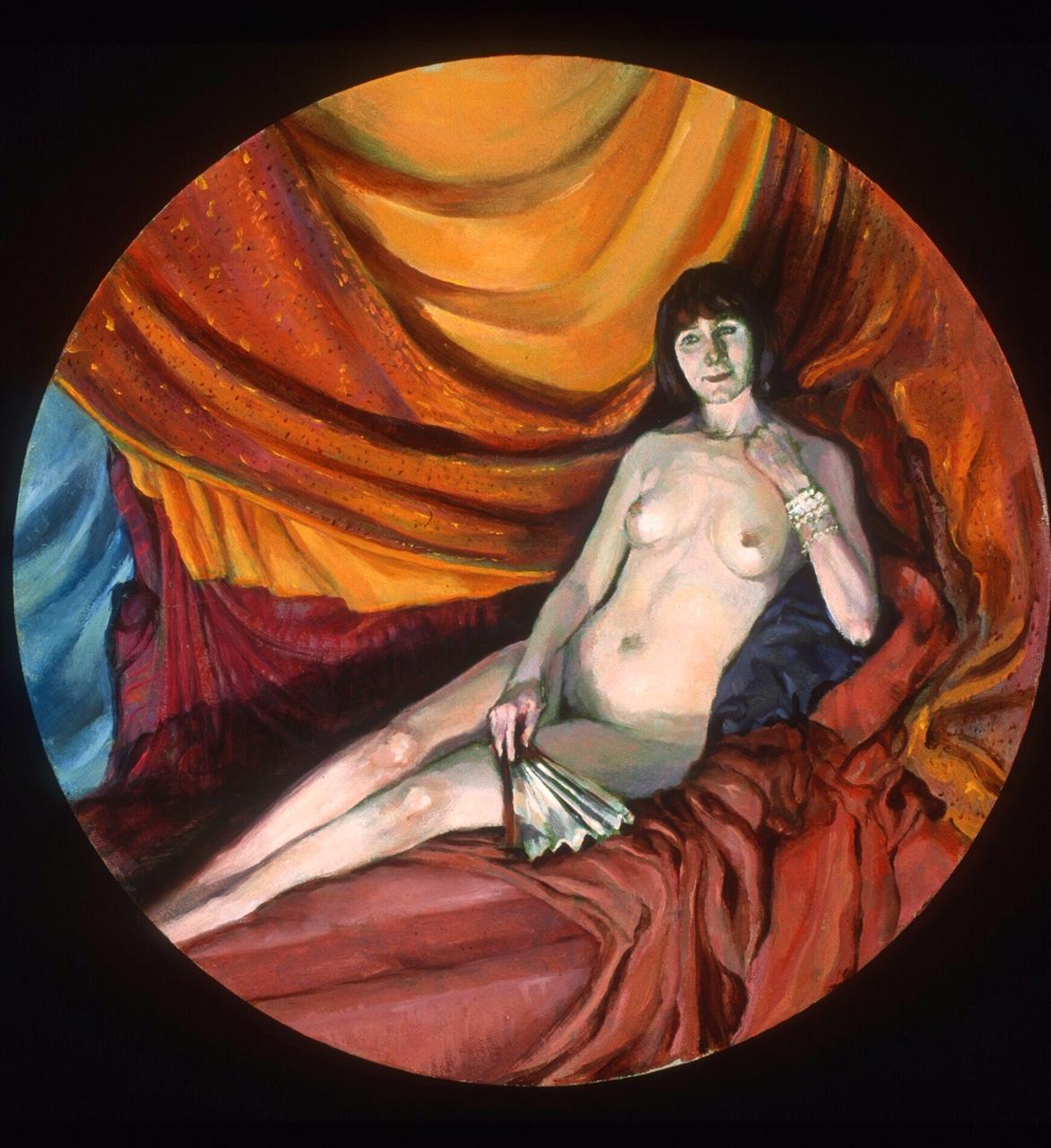 "Lou Ann Burkhardt  Natanya with Fan,   2006 Oil on roundel canvas 12"" in diameter plus frame"