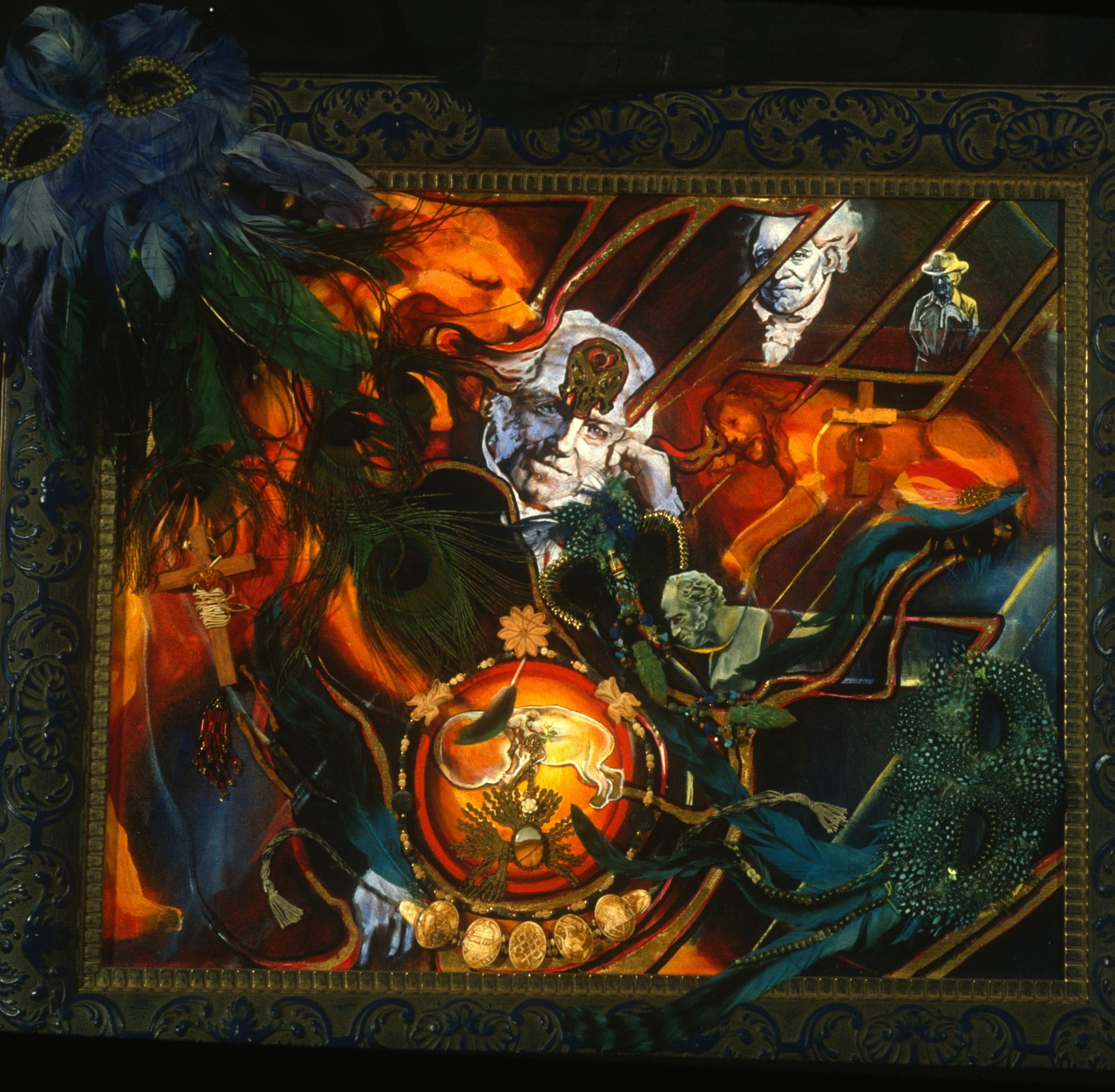 """Lou Ann Burkhardt  Ode to Schopenhauer and Elizabet Ney,   2001 Oil, gold leaf, and mixed media on canvas 32"""" x 32"""" framed"""