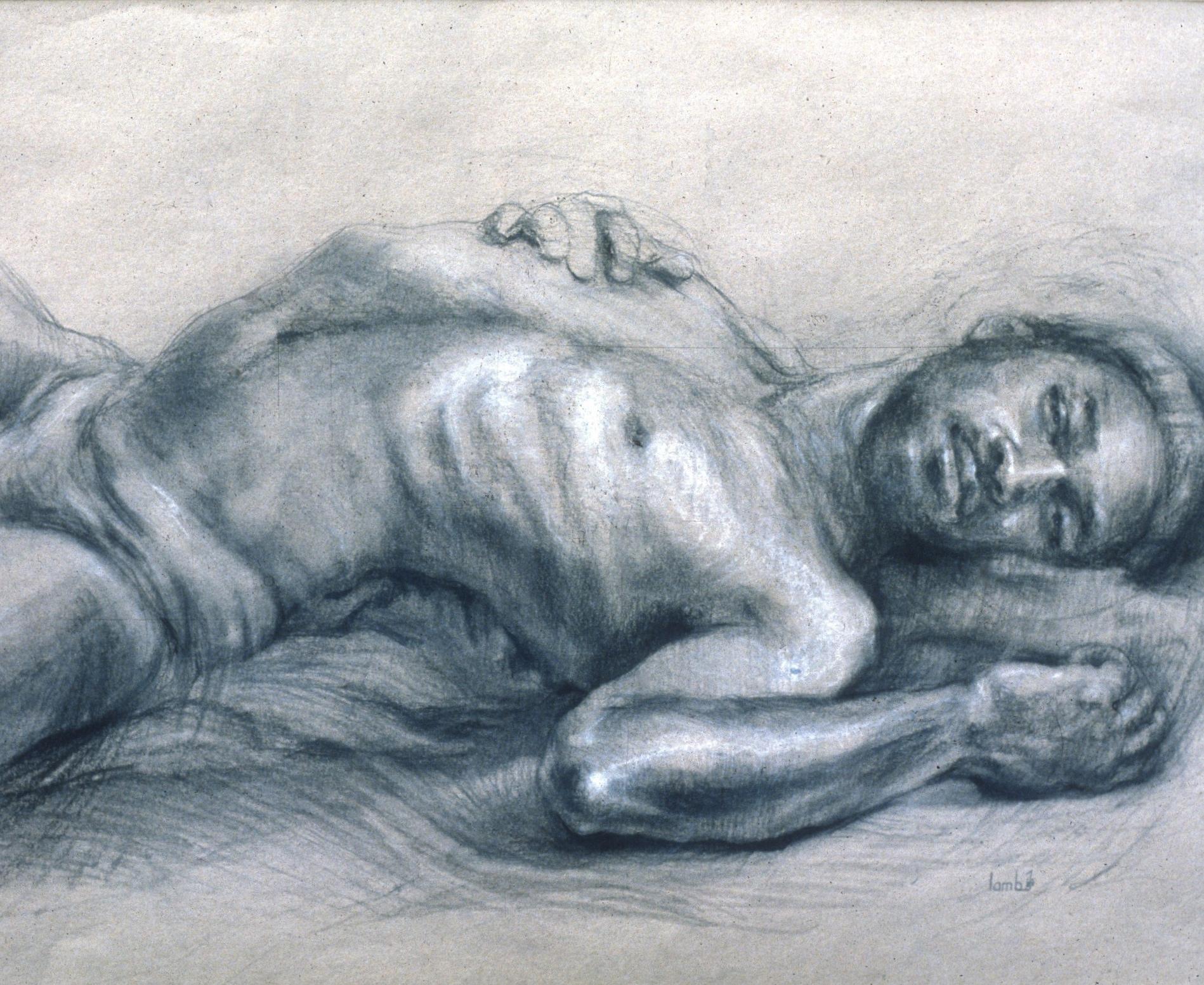 "Lou Ann Burkhardt  Runako Jahid,   1980 Charcoal and white chalk on toned paper 24"" x 30"" framed  $1,600"