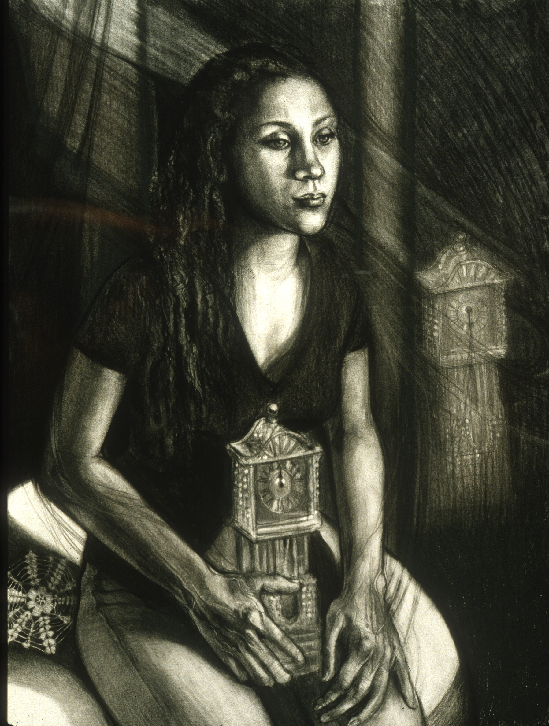 """Lou Ann Burkhardt  Fleeting Time, Thou Hast No Pain (A Tribute to Ivan),   1999   Charcoal on paper 21-1/2"""" x 34"""" framed $2,500"""