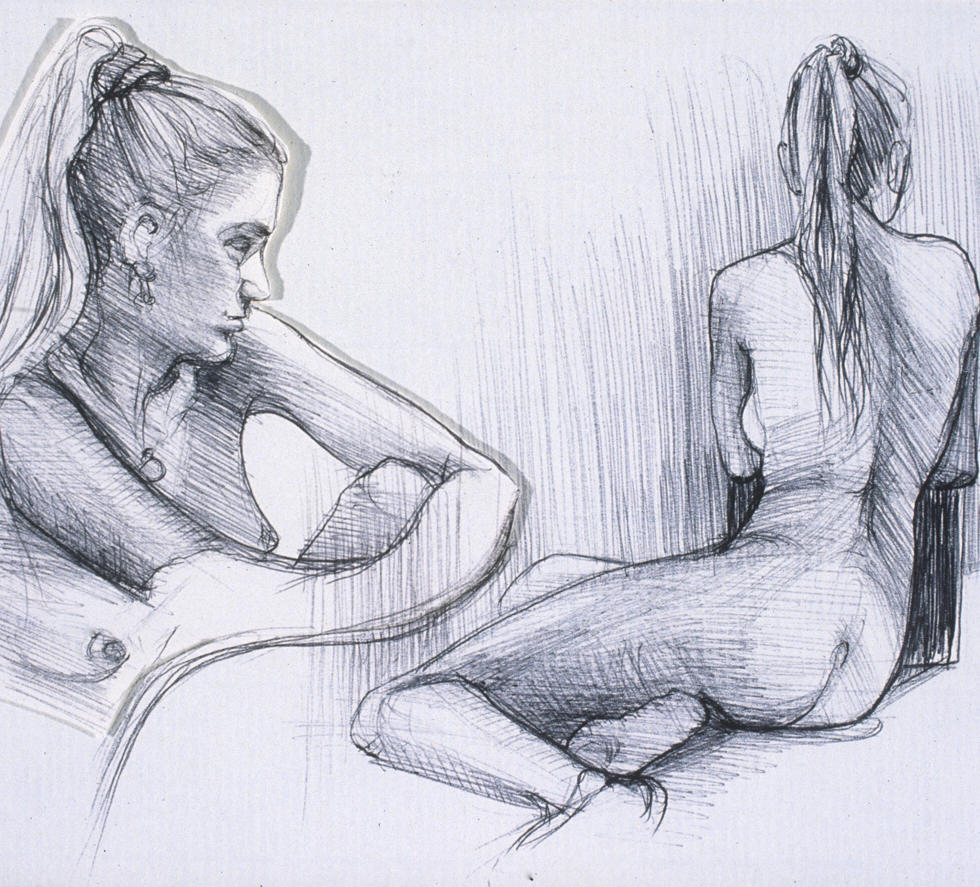 "Lou Ann Burkhardt  Katie  , 2002 Pen and ink on paper 13"" x 16"", framed $385"